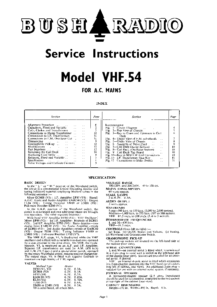 bush vhf54 am fm receiver 1953 sm service manual download rh elektrotanya com bush tv repair manual bush tv repair manual