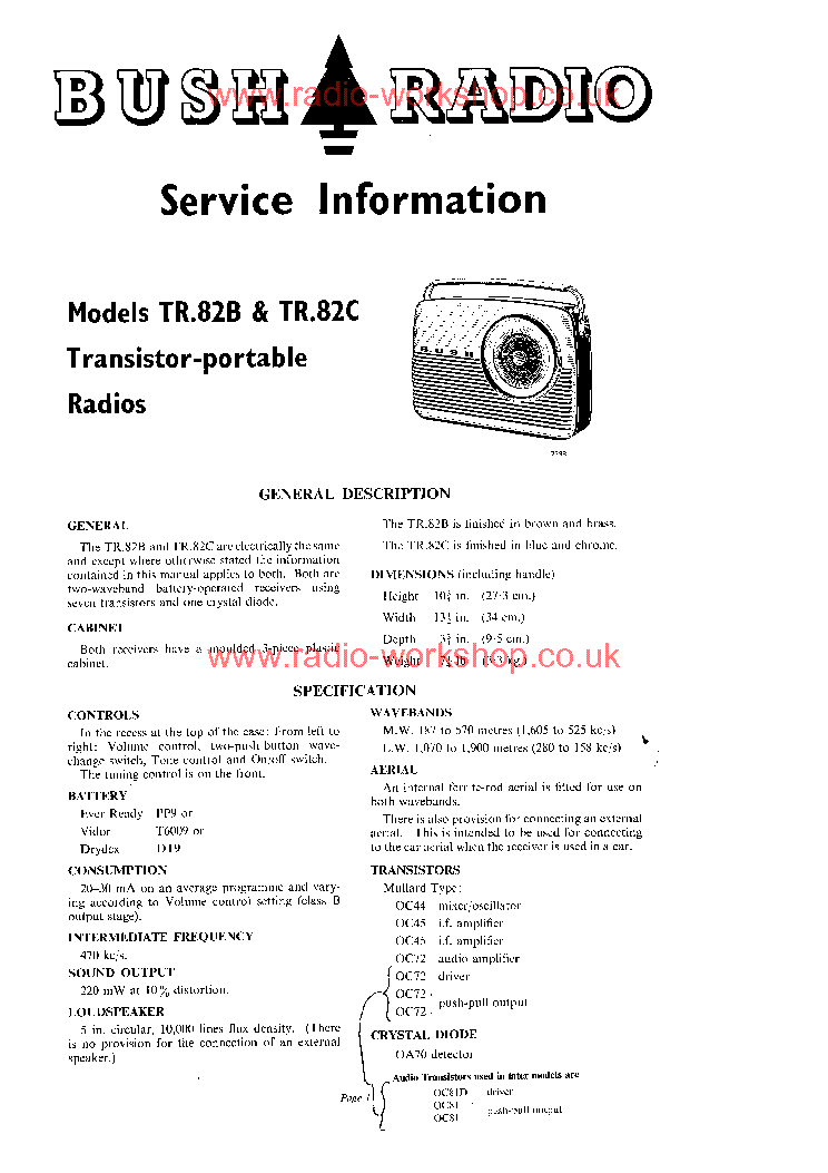 bush tr82 b c transistor portable radio ca1959 sm service manual rh elektrotanya com bush a126q repair manual bush a126q repair manual