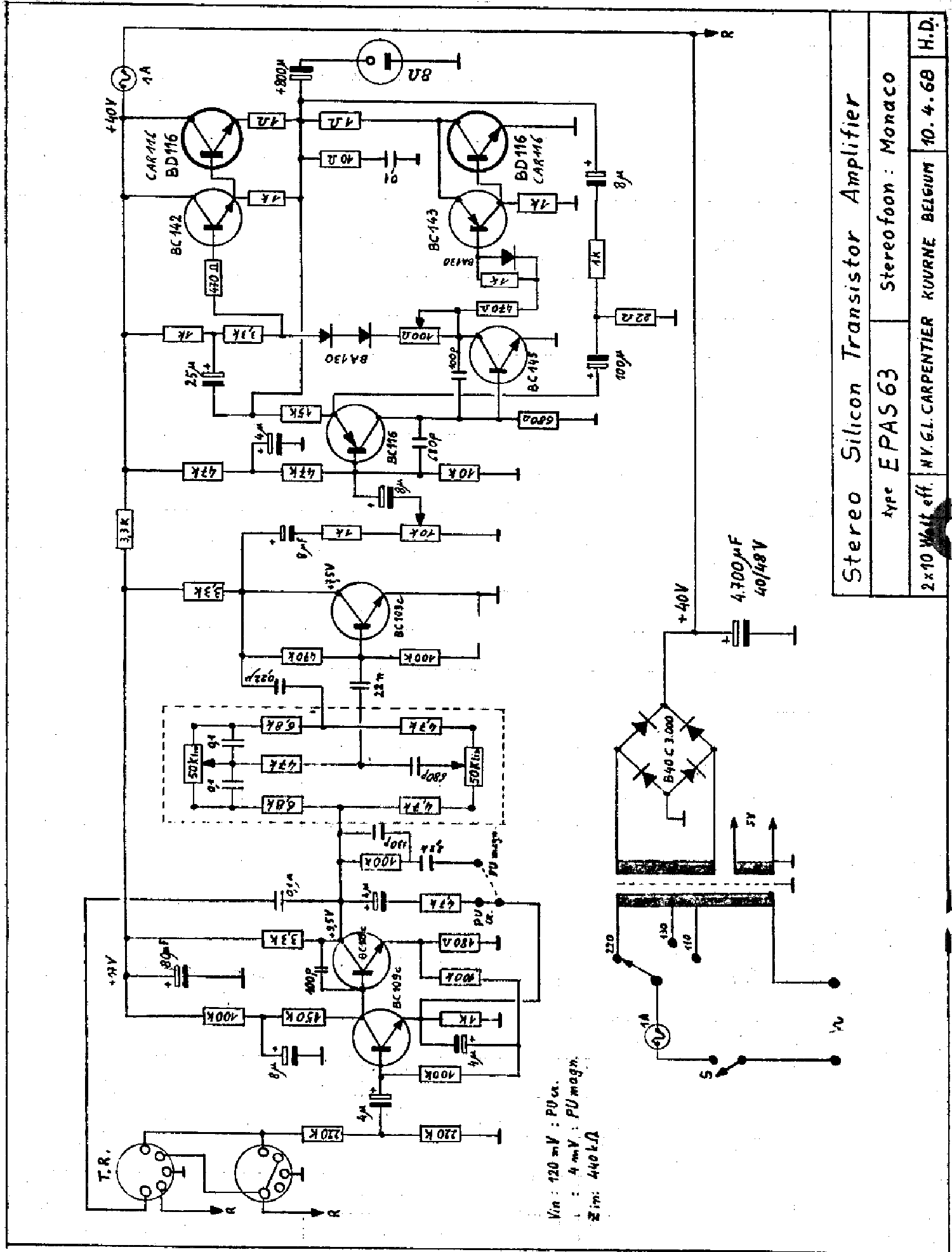 carad epas63 2x10w stereo transistor amplifier sch service manual download  schematics  eeprom