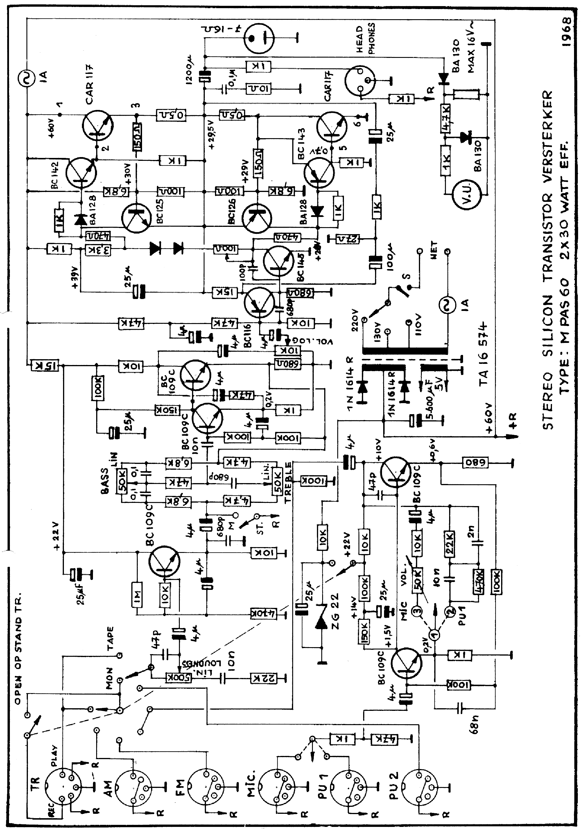 carad mpas60 2x30w stereo transistor amplifier sch service