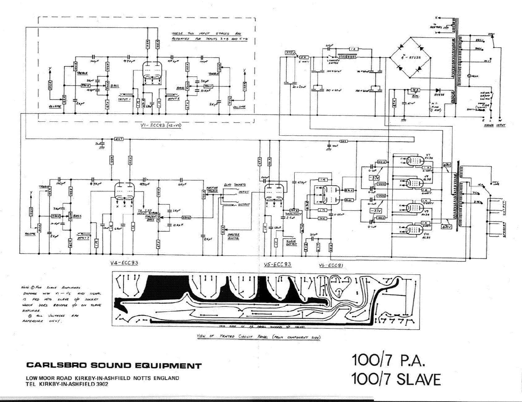 CARLSBRO 100-7 PA SLAVE SCH service manual (1st page)
