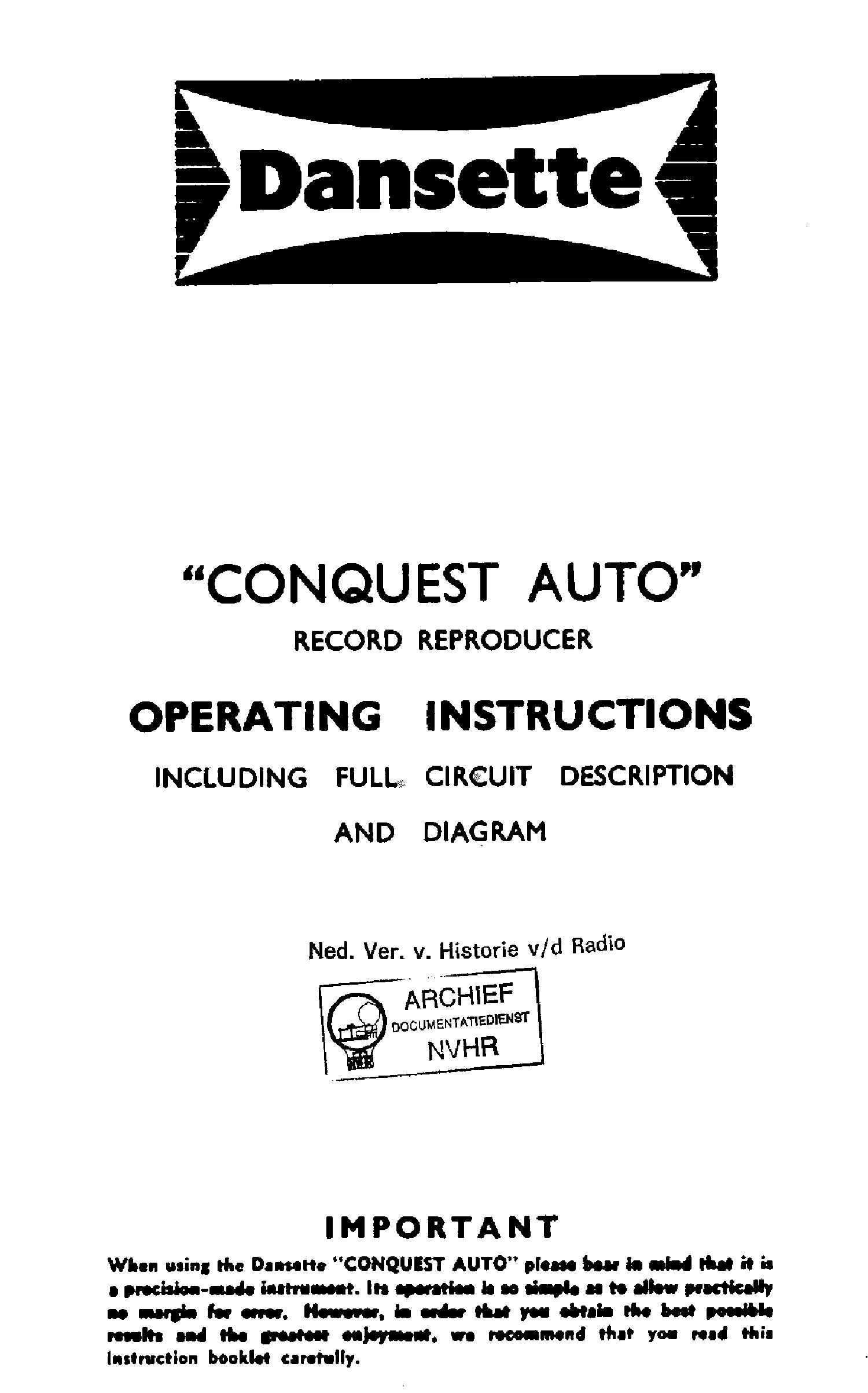 dansette conquest auto record reproducer sch service manual download rh elektrotanya com 2000 argo conquest service manual 2000 argo conquest service manual