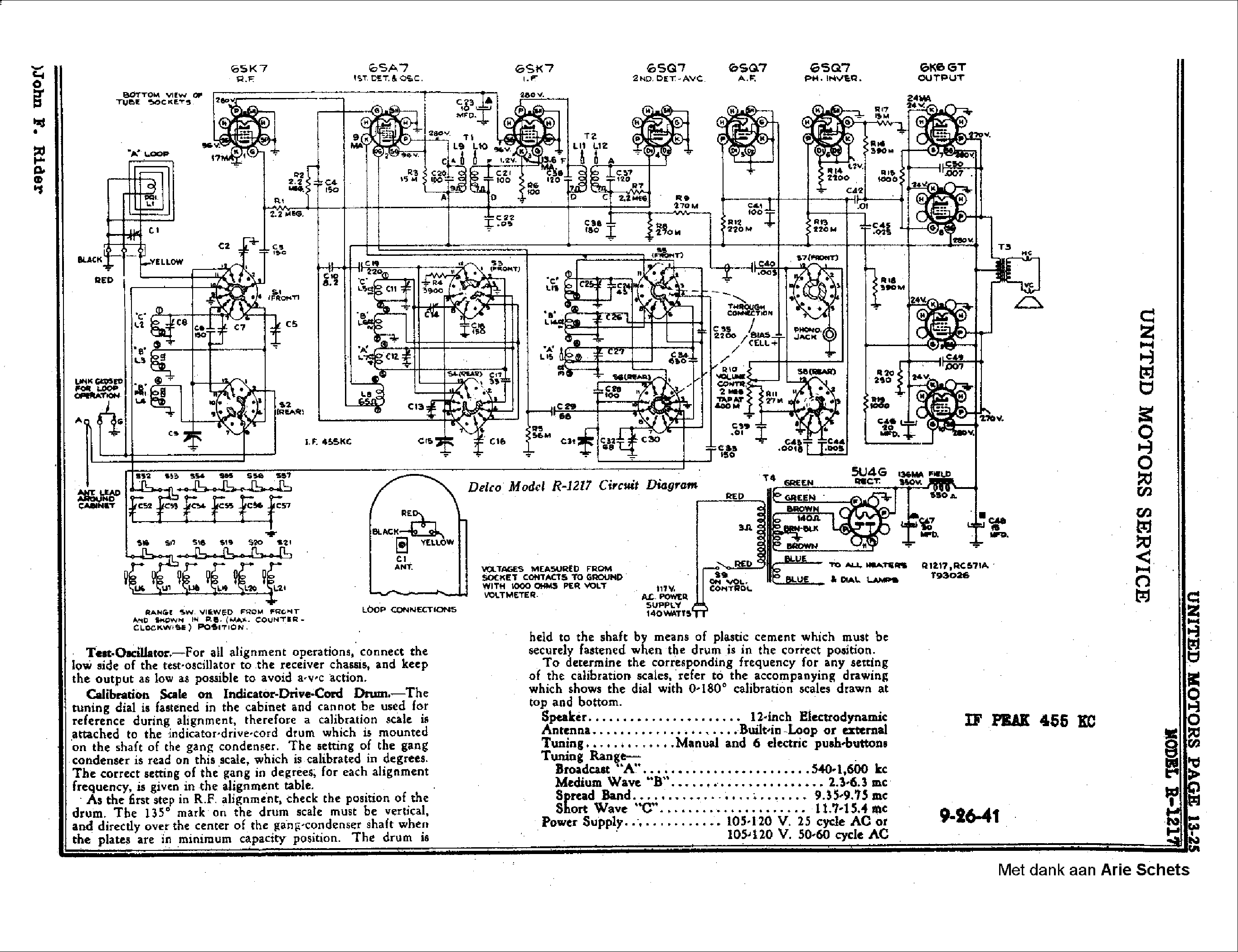 delco r1217 radio 1941 sch service manual download