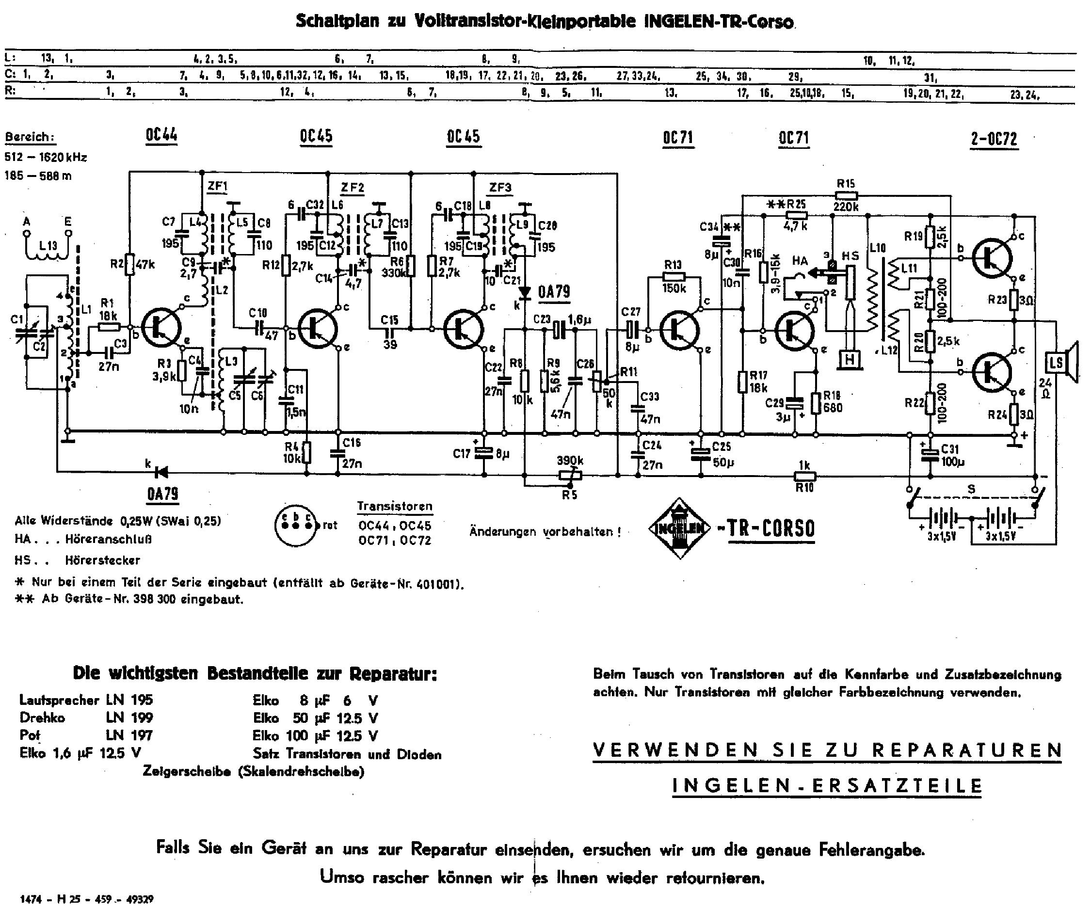 ingelen tr corso transistor radio ca1959 sch service manual download  schematics  eeprom  repair