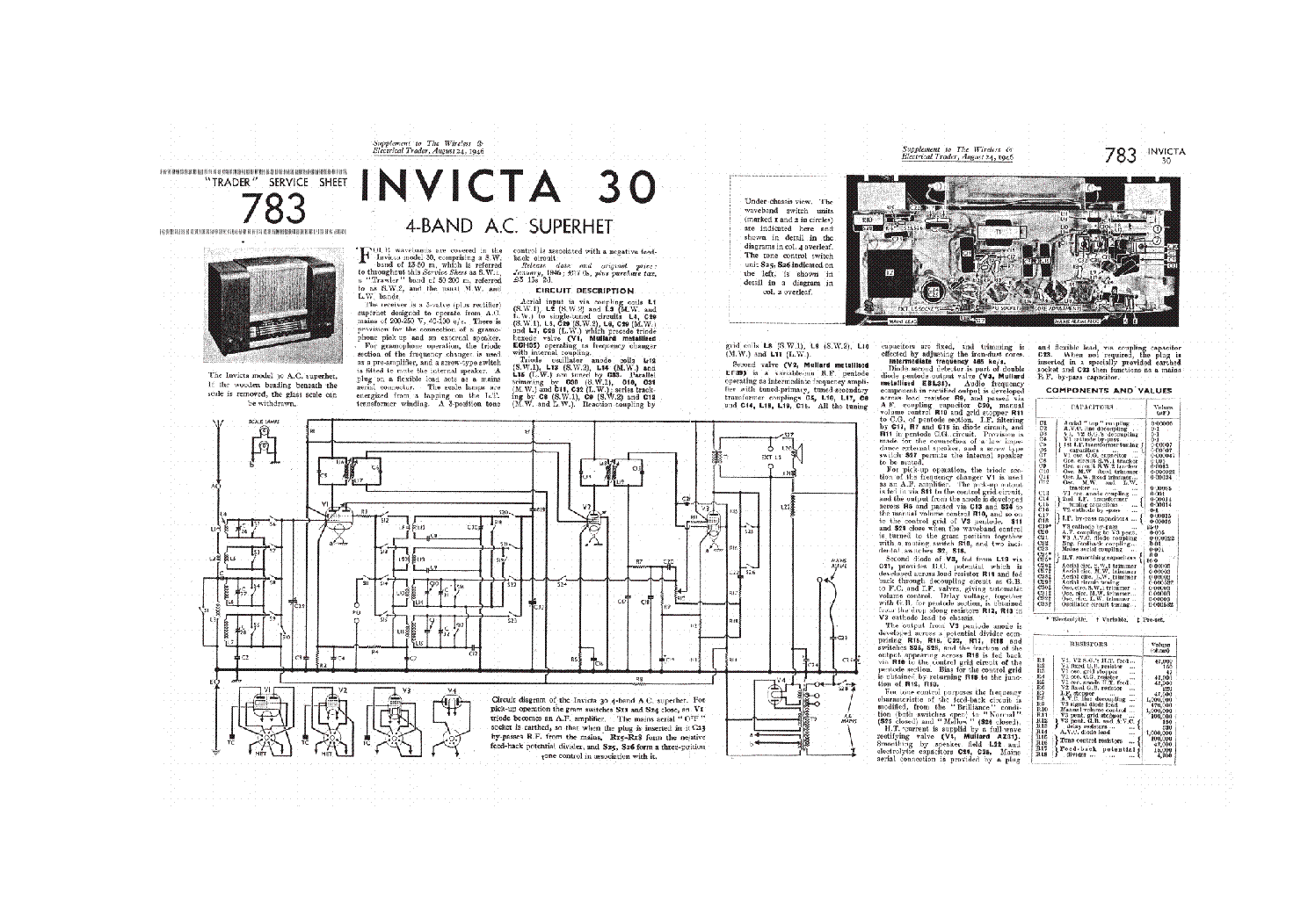 Invicta 30 Am Radio Receiver Service Manual Download Schematics Circuit 1st Page