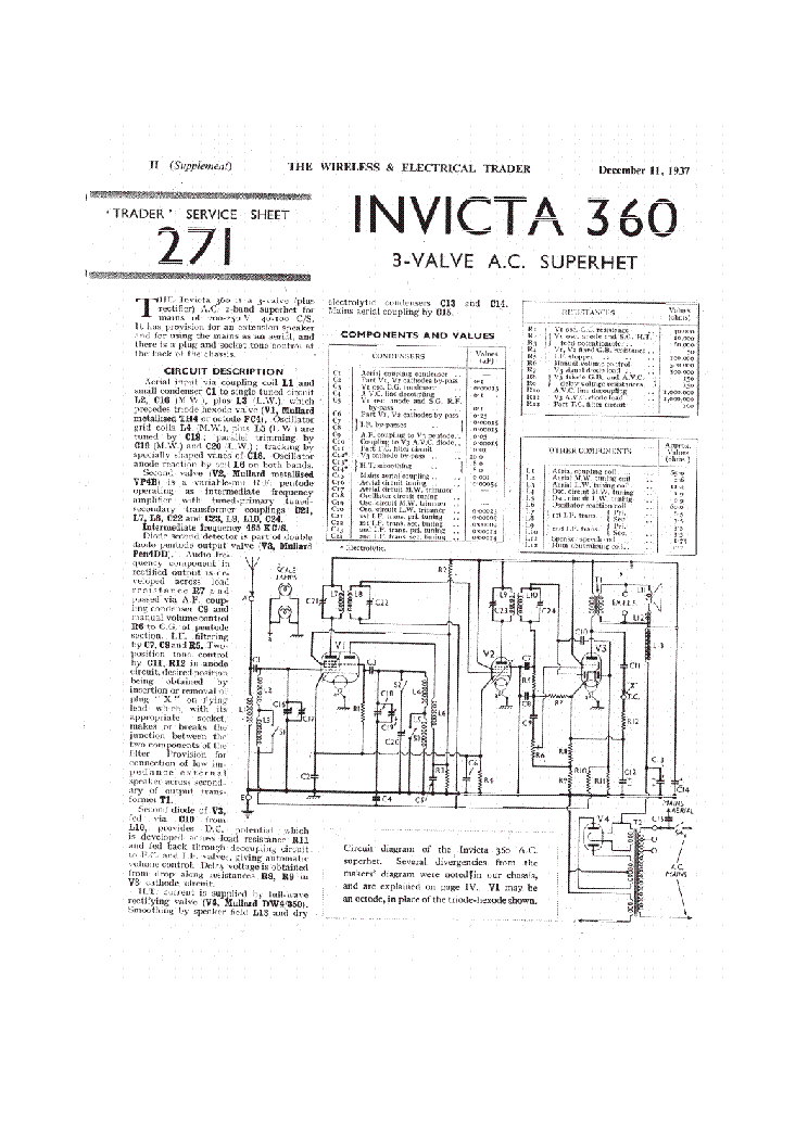 INVICTA 360 AM RADIO RECEIVER Service Manual download