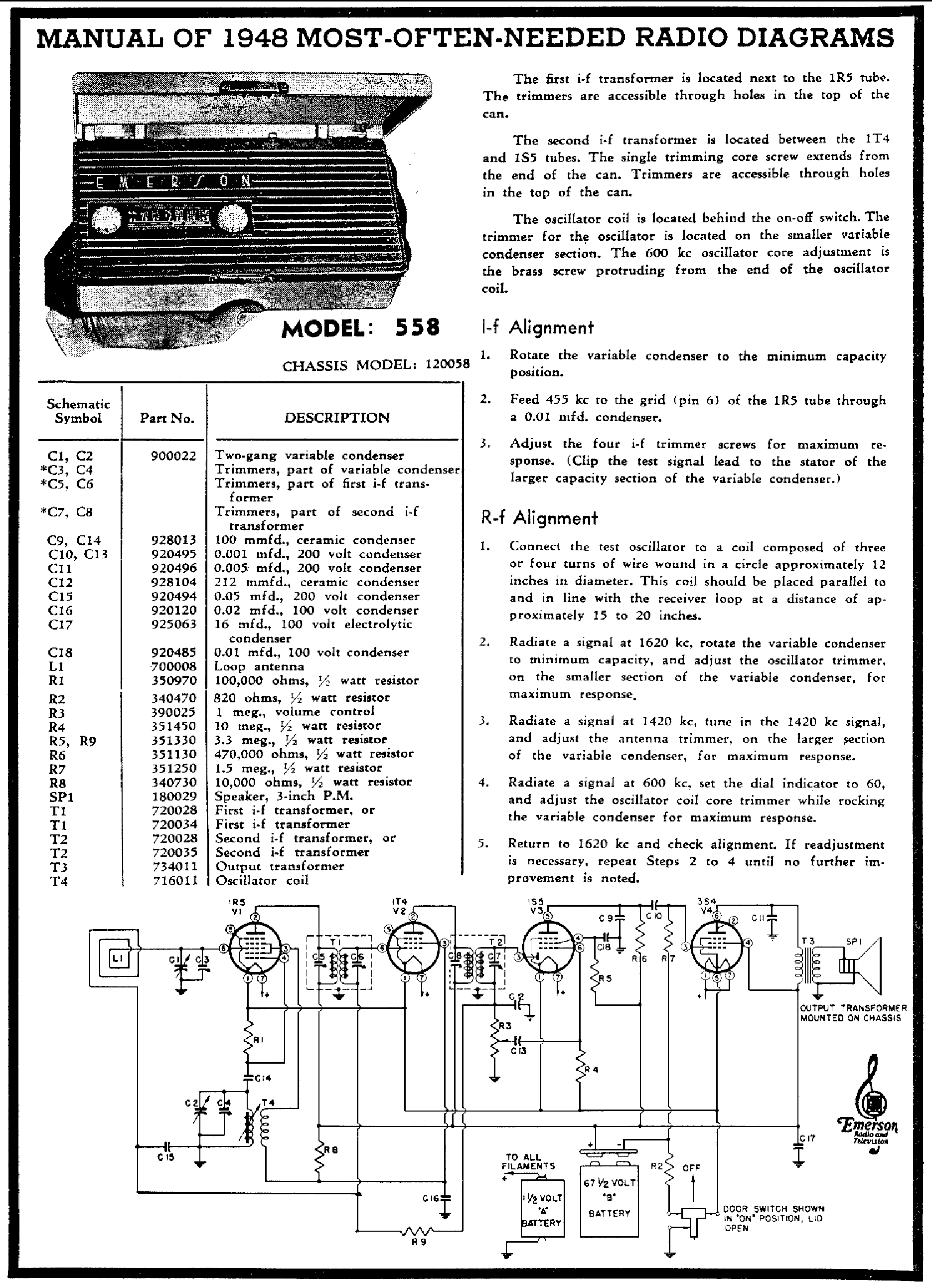 EMERSON 558 BATTERY RADIO 1948 SCH service manual (1st page)