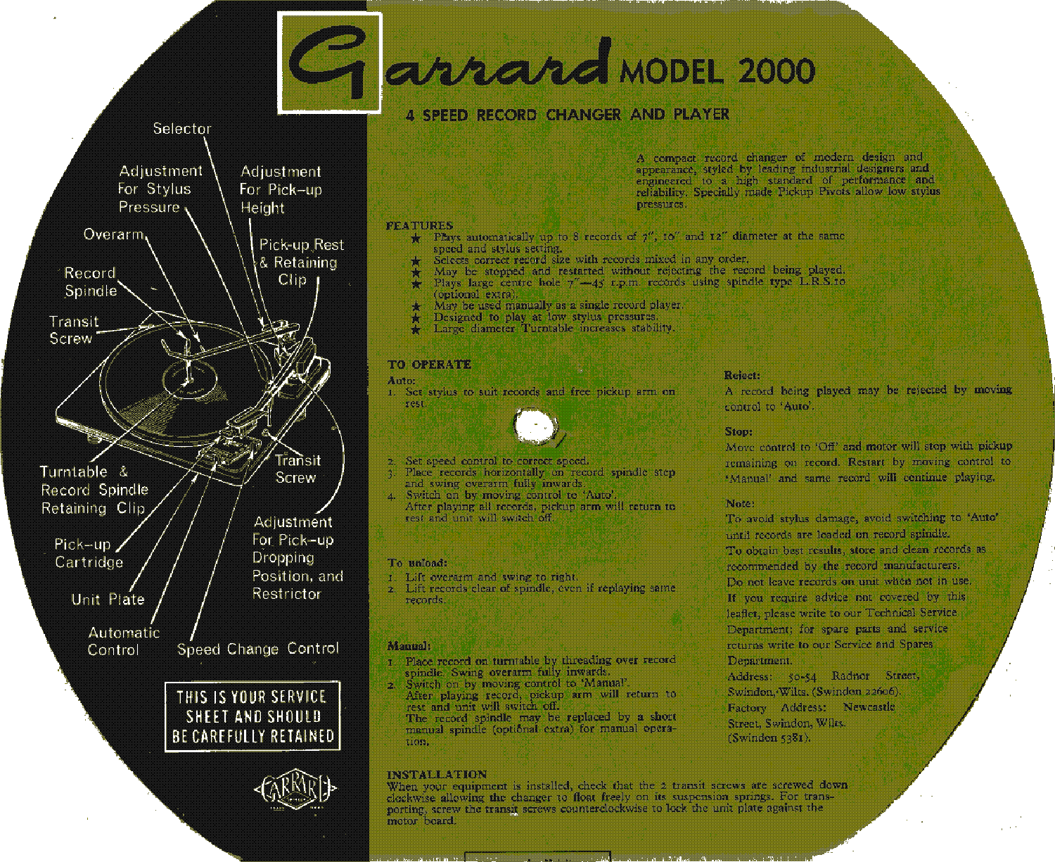 GARRARD 2000 4-SPEED RECORD CHANGER PLAYER SM Service Manual