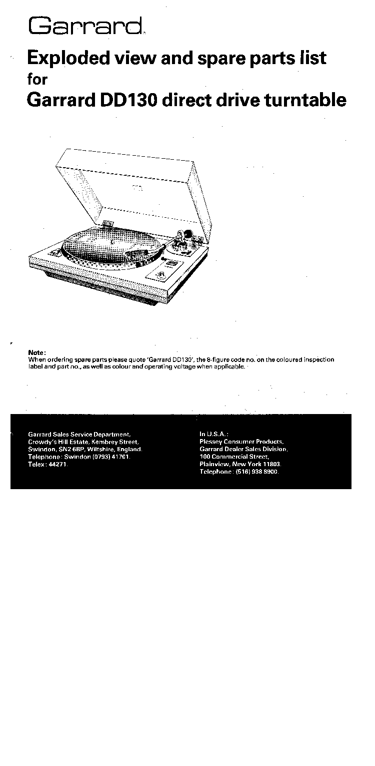GARRARD DD130 TURNTABLE SCH PARTS Service Manual download