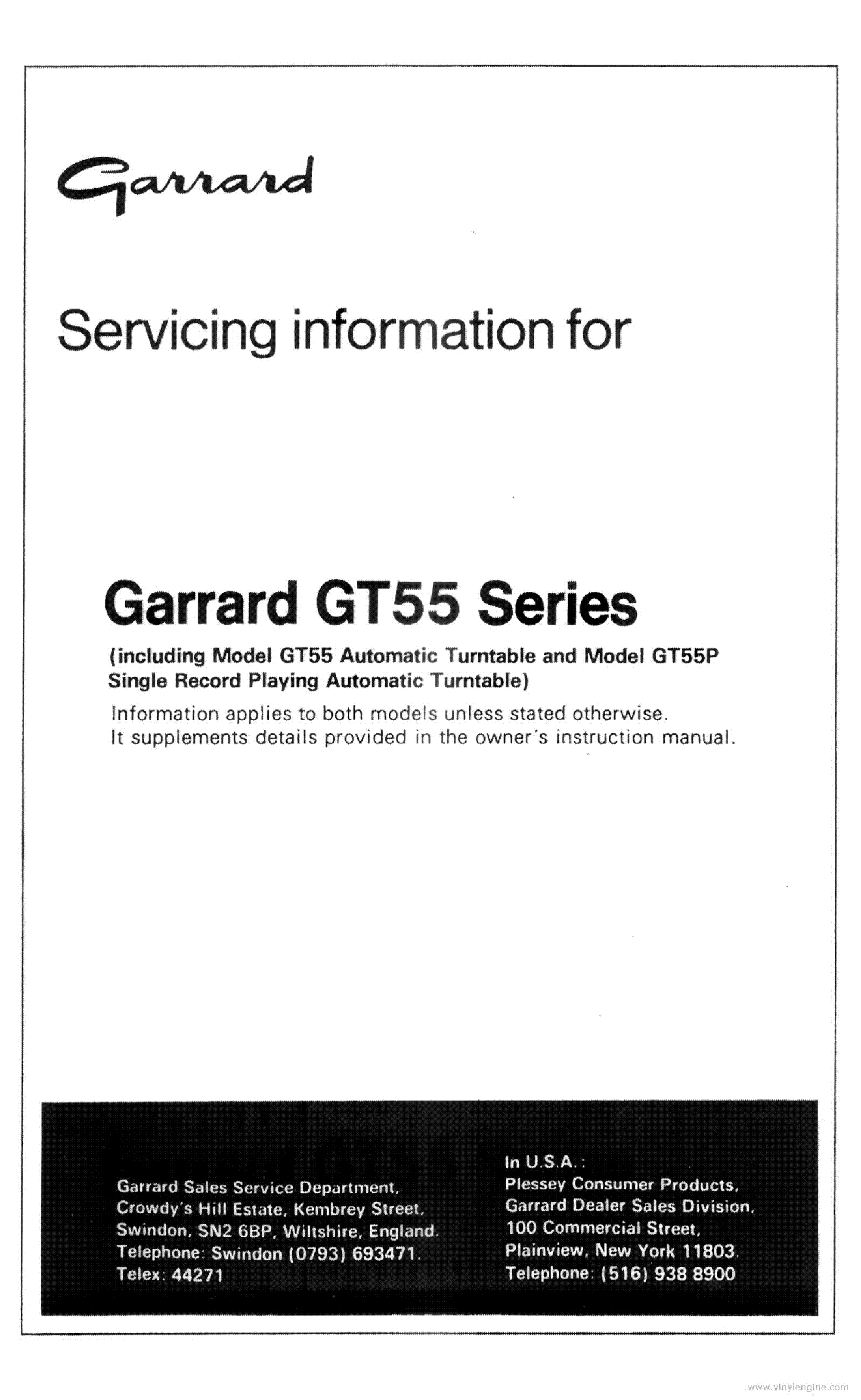 GARRARD GT55 GT55P TURNTABLE Service Manual download