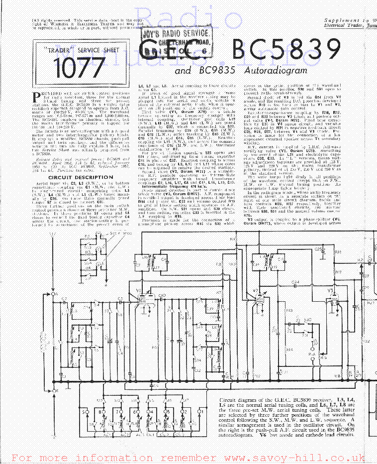 Gec Bc5839 Bc9835 Service Manual Download Schematics Eeprom