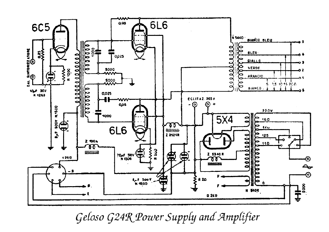 GELOSO G24R POWER SUPPLY AND AMPLIFIER SCH service manual (1st page)
