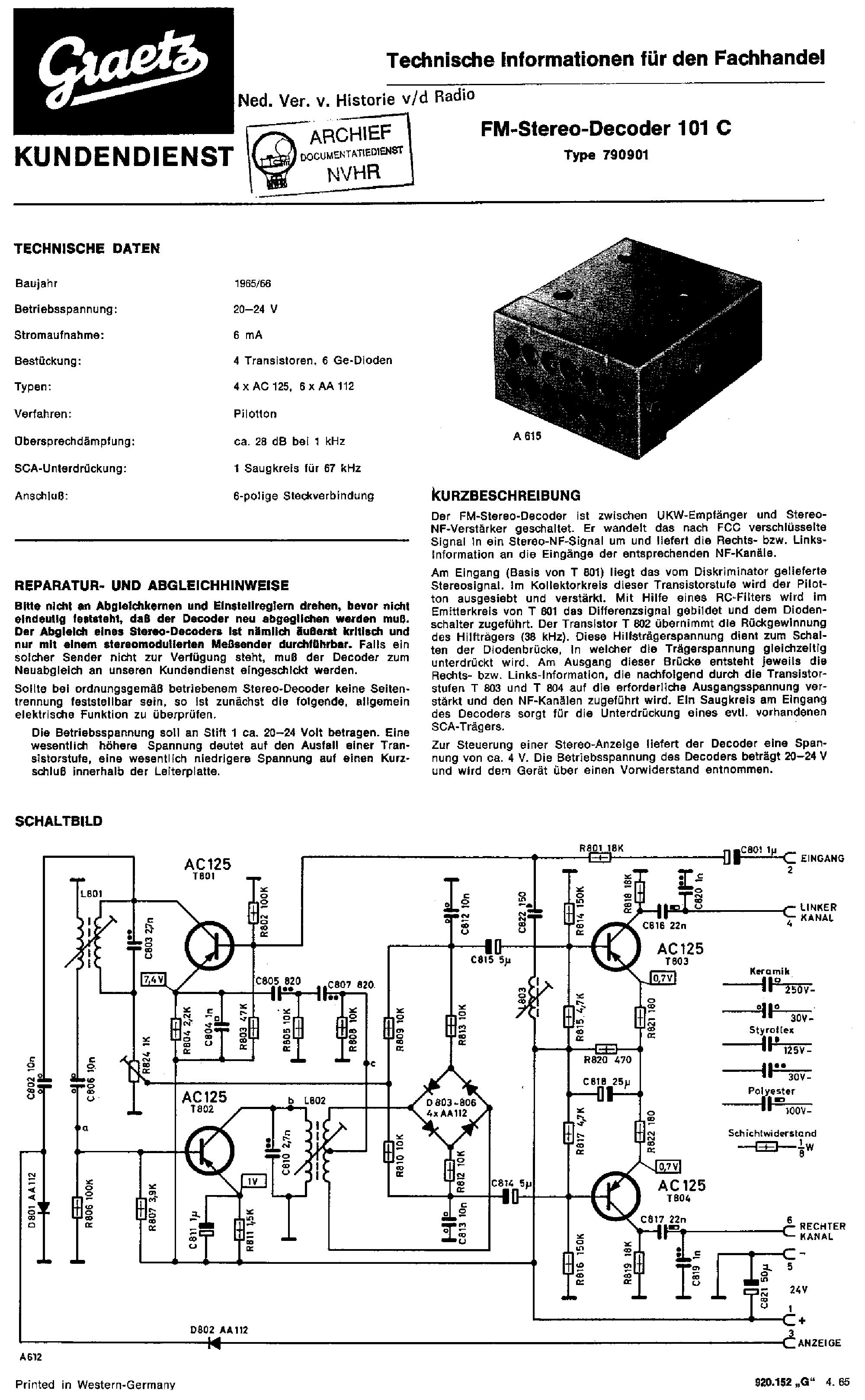 Fm Stereo Decoder Circuit Diagram And Schematics Lm1800 Graetz 101c 1965 Sch Service Manual