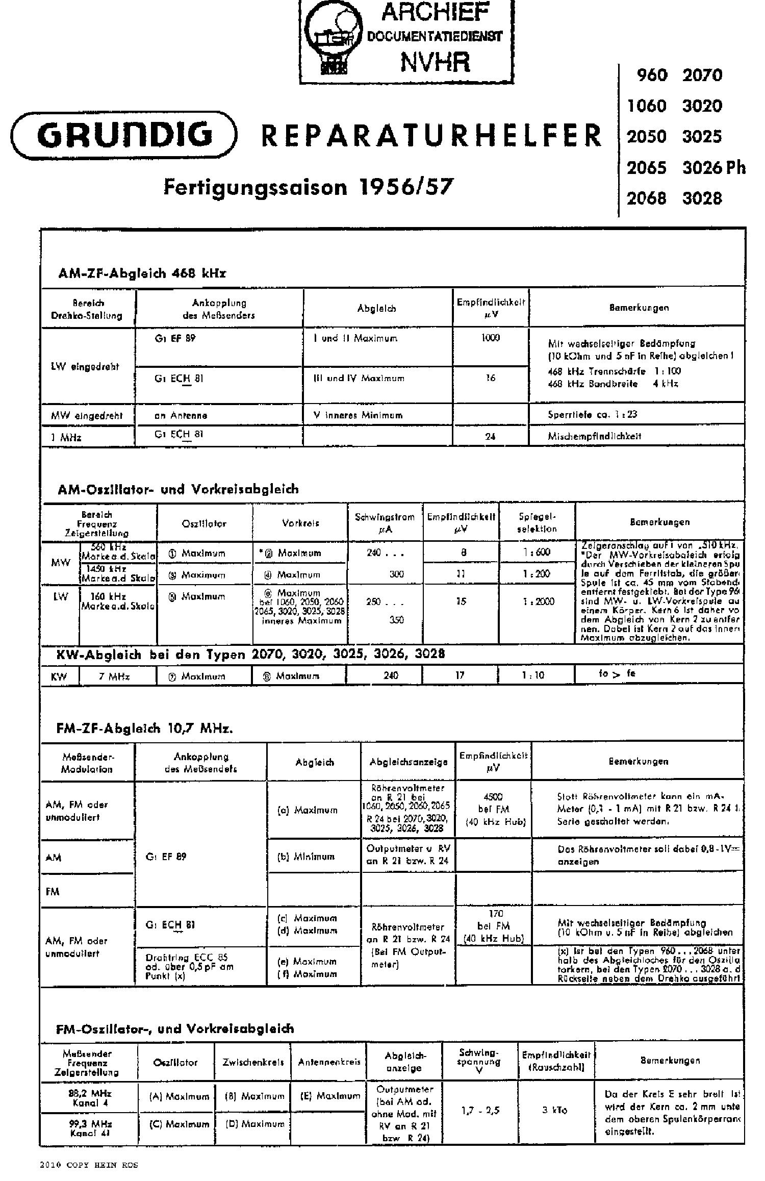 GRUNDIG 3028 AM-FM RADIO 1956 SCH service manual (1st page)