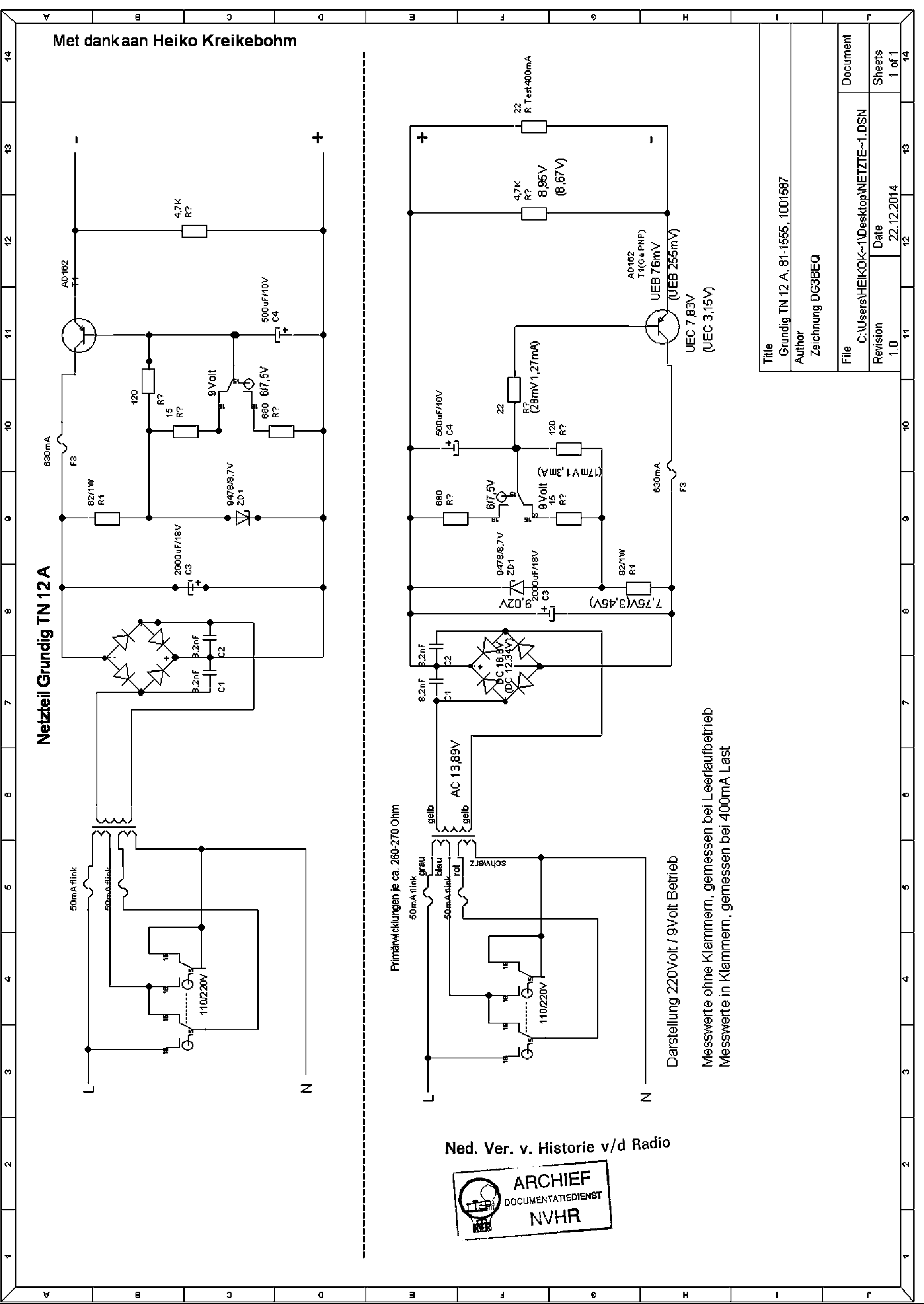 Grundig Tn12a 81 1555 1001587 9v 0 4a Vers Power Supply