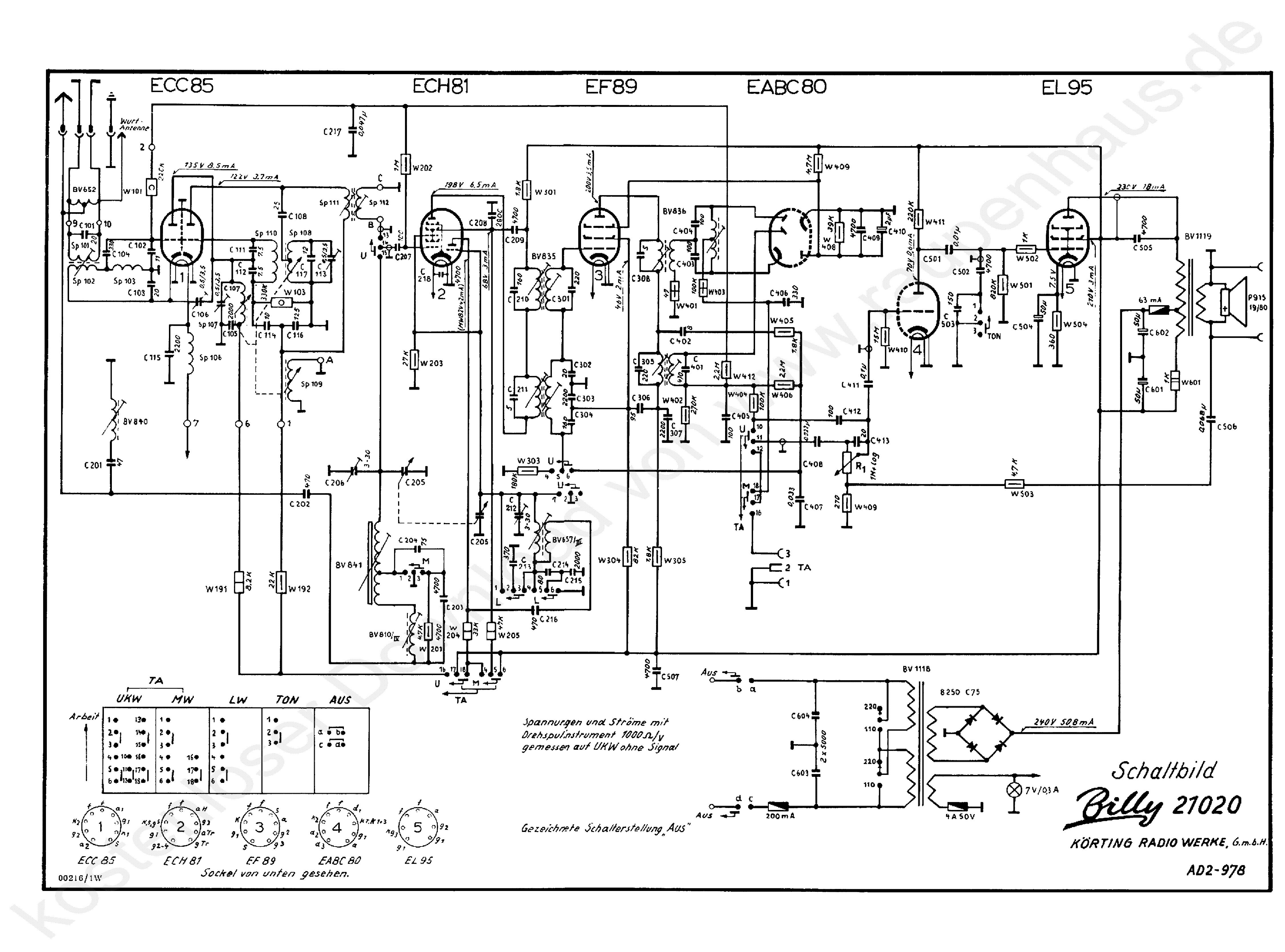 koerting billy 21020 radio 1960 sch service manual