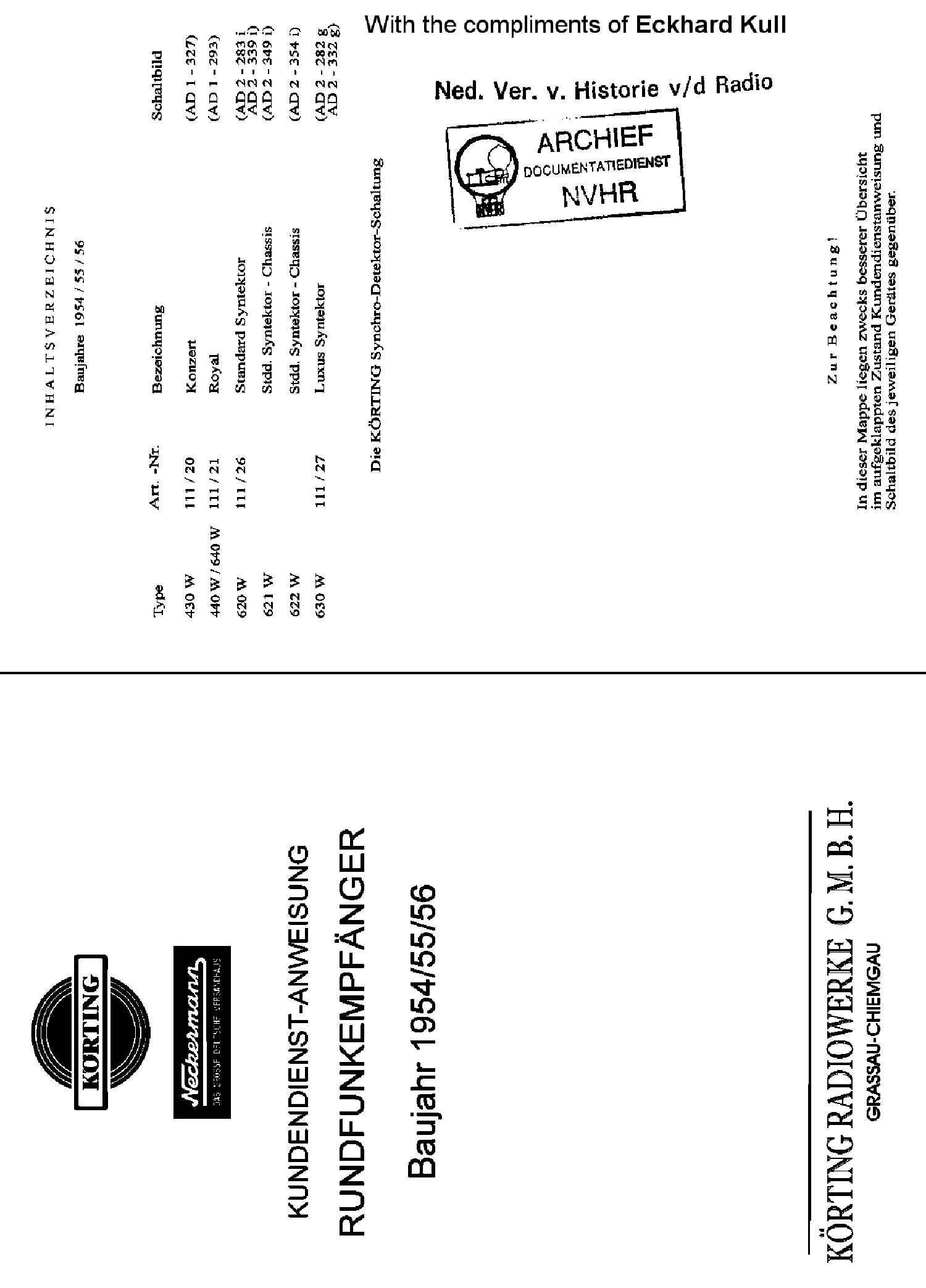 KORTING 630W LUXUS SYNTEKTOR AM-FM RECEIVER SM service manual (1st page)