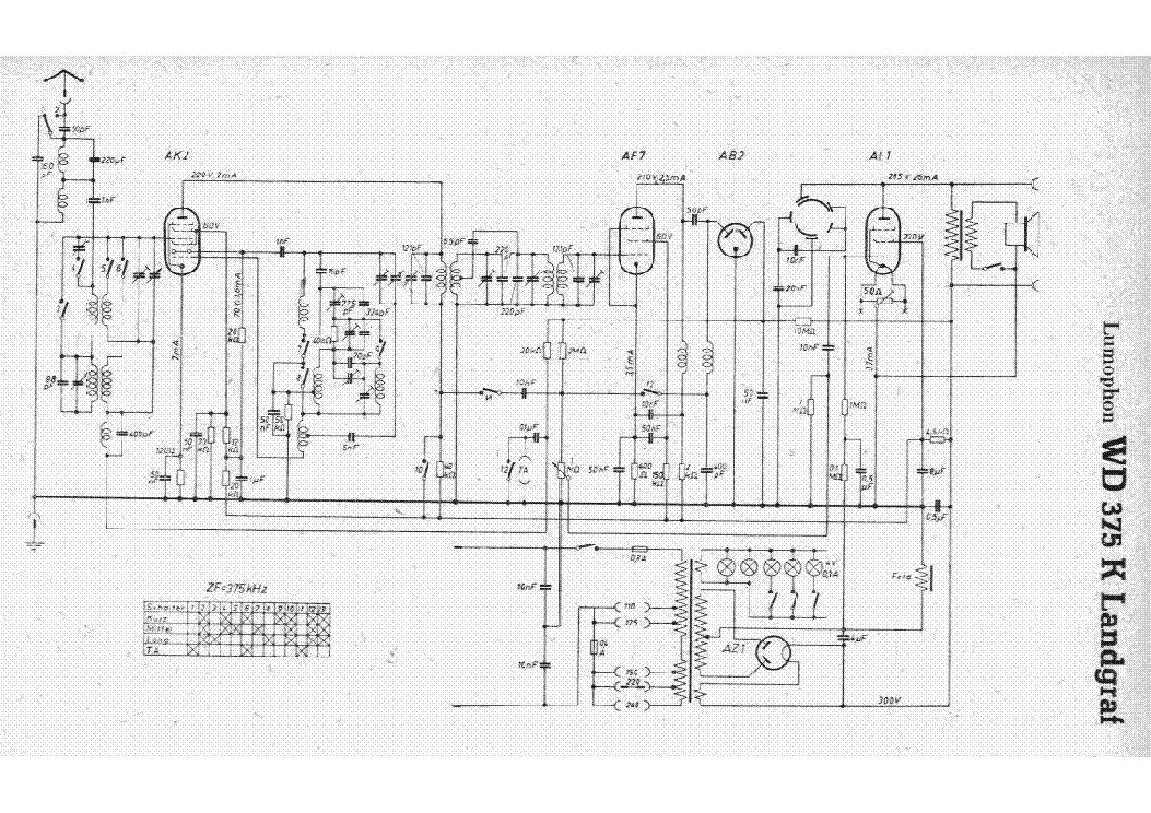 lumophon wd375k landgraf am radio receiver sch service