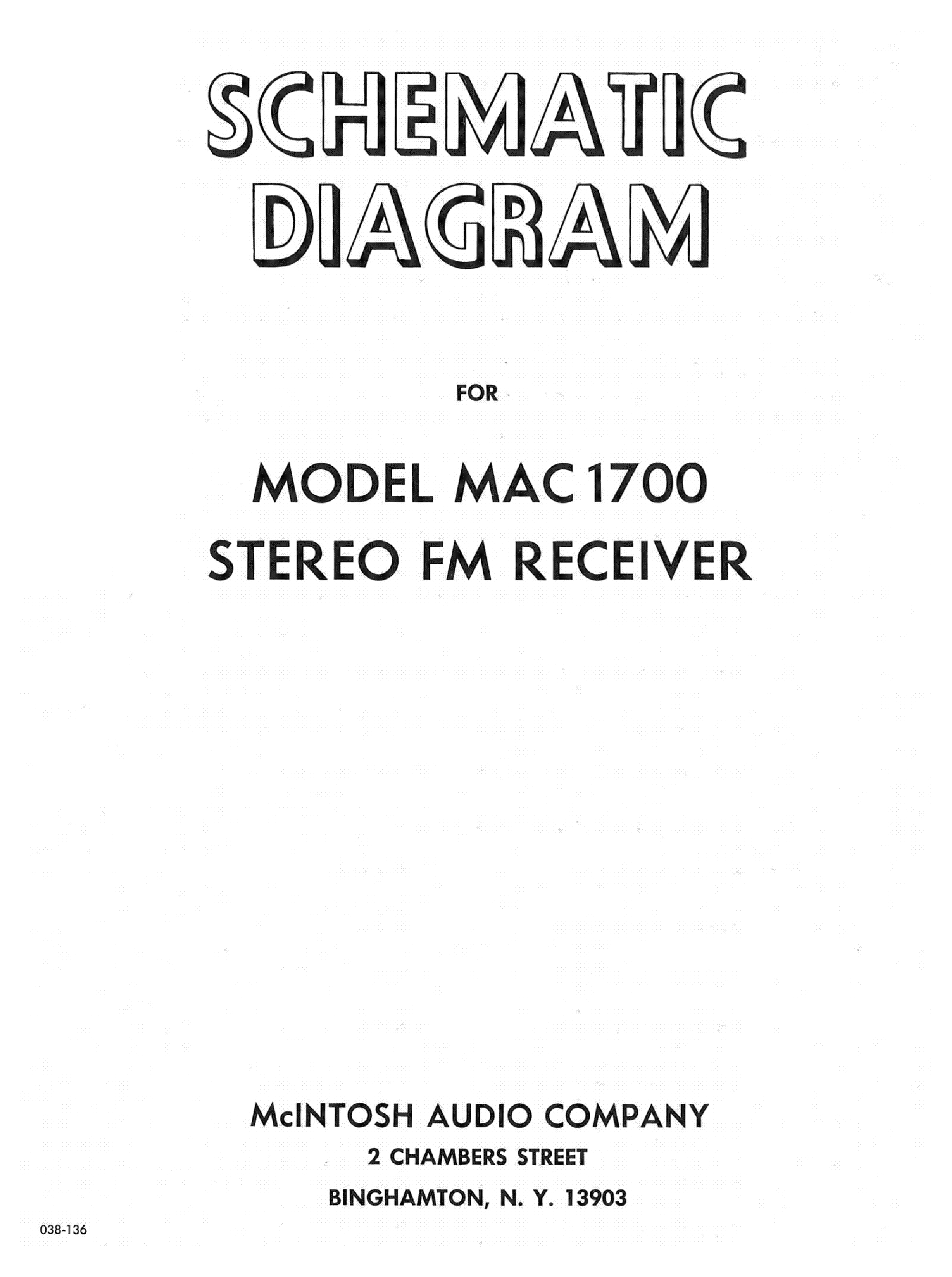 MCINTOSH MAC1700 FM RECEIVER SCH Service Manual Download