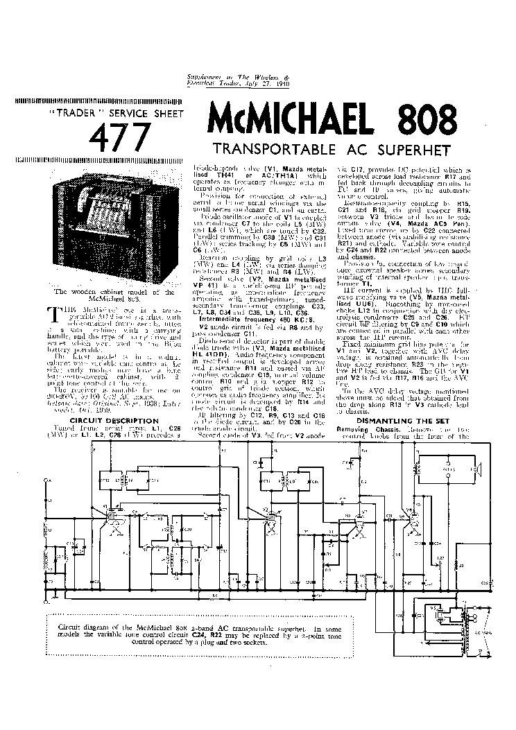 MCMICHAEL 808 TRANSPORTABLE AC RADIO 1940 SM Service Manual download