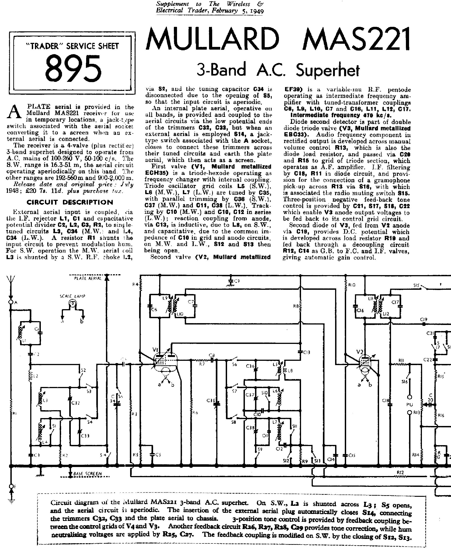 MULLARD MAS 221 RADIO 1949 SCH service manual (1st page)