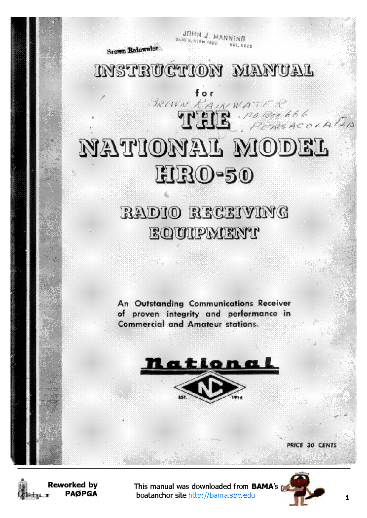 NATIONAL HRO-50 RECEIVER Service Manual download, schematics, eeprom on