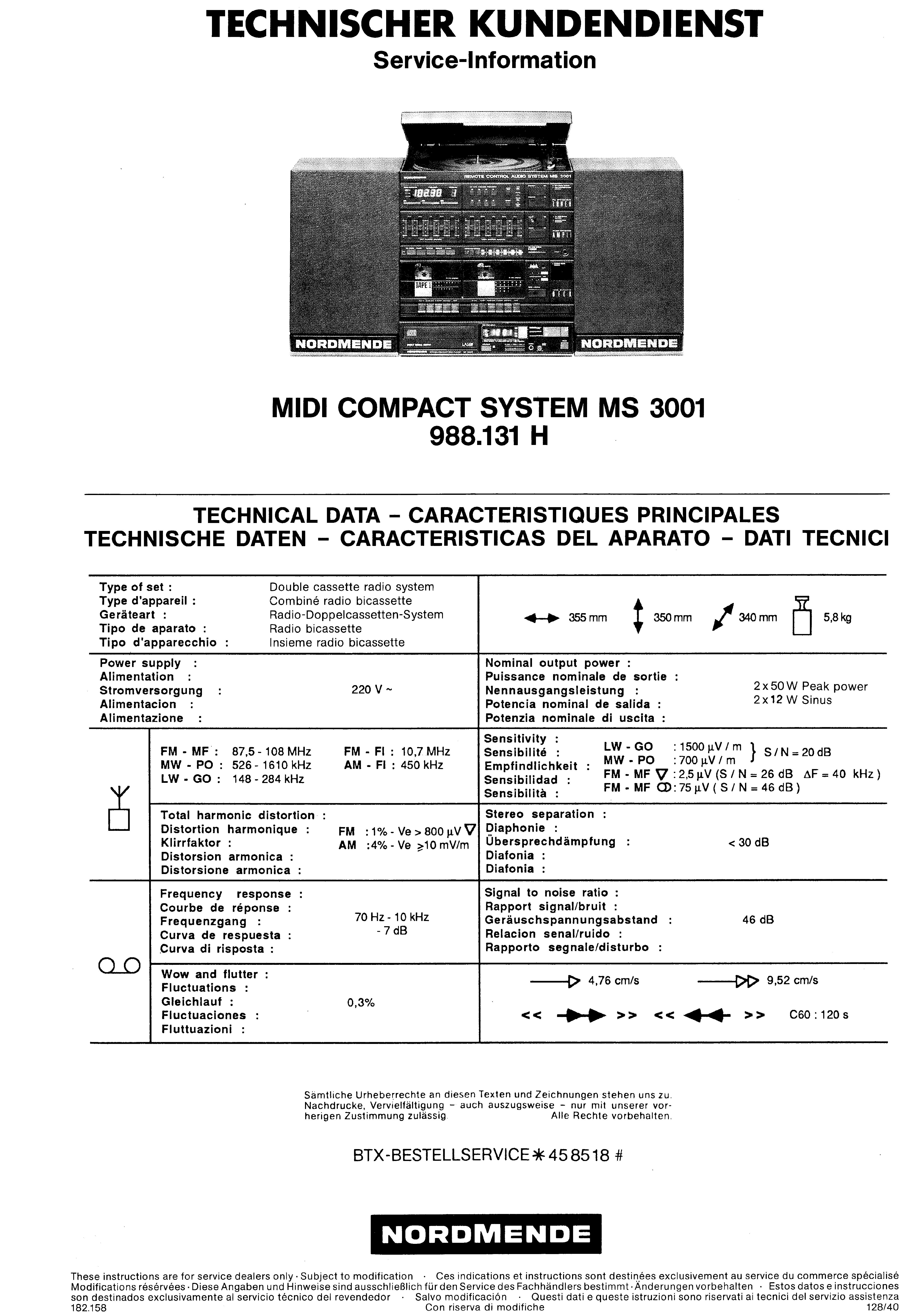 NORDMENDE MIDI COMPACT SYSTEM MS 3001 988 131H SM Service Manual