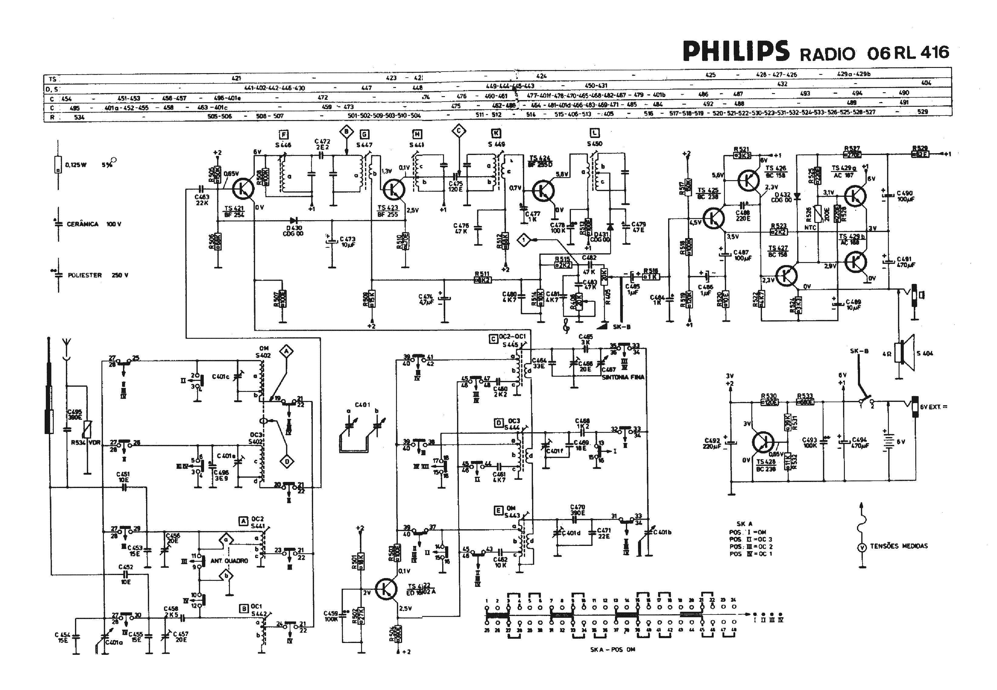 Philips 06rl416 Transistor Radio Sch Service Manual