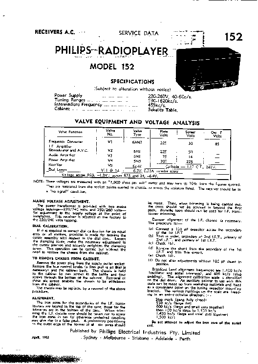 PHILIPS 152 AM RADIO RECEIVER service manual (1st page)