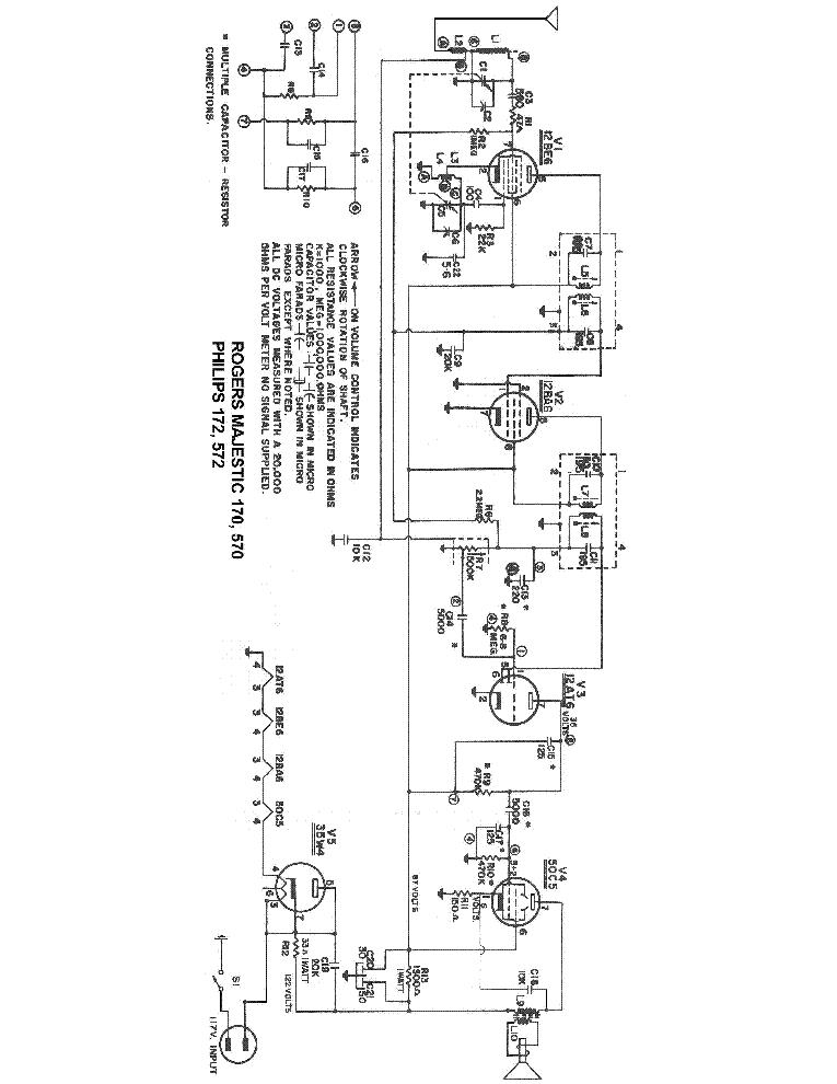 Philips 172 572 Rogers Majestic 170 570 Radio Sch Service Manual