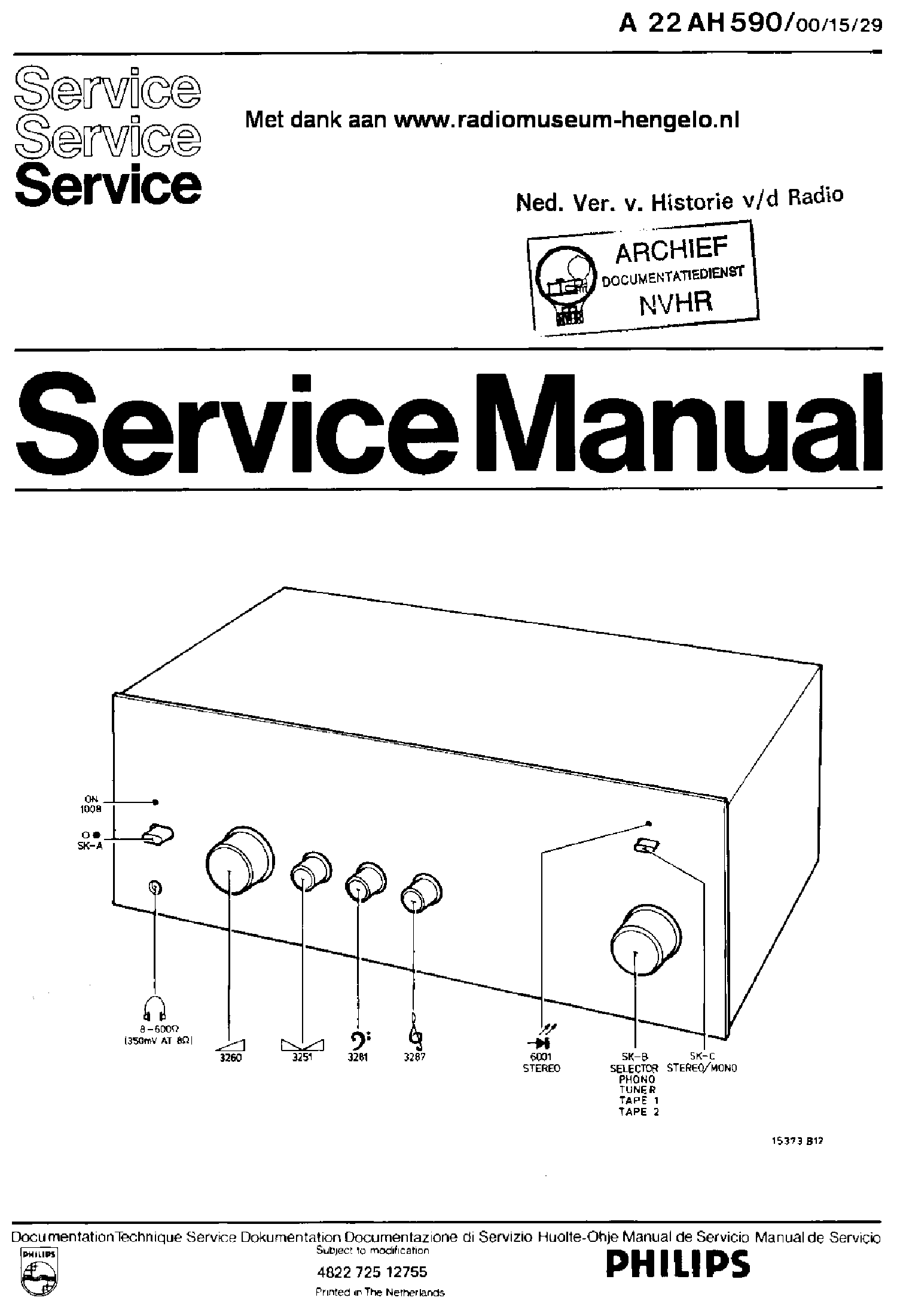 PHILIPS 22AH590-00-15-29 STEREO AMPLIFIER SM service manual (1st page