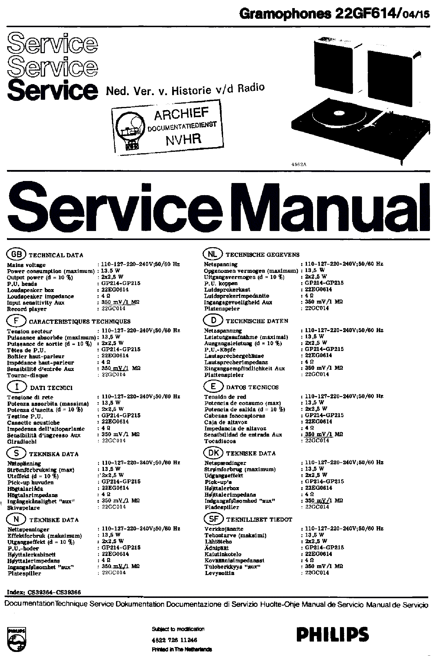 PHILIPS 22GF614-04-15 RECORD PLAYER SM service manual (1st page)