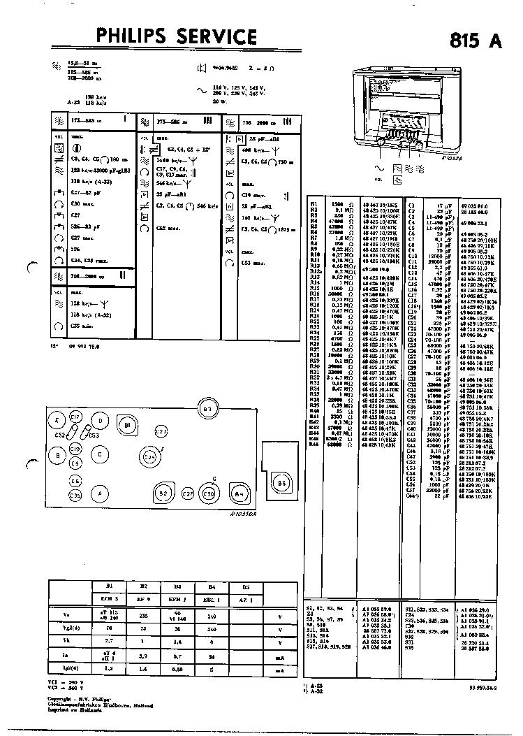 philips 815a vintage radio sm service manual download