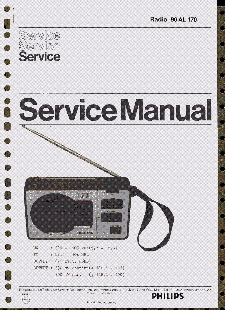 PHILIPS 90AL170 AM-FM POCKET RADIO SM service manual