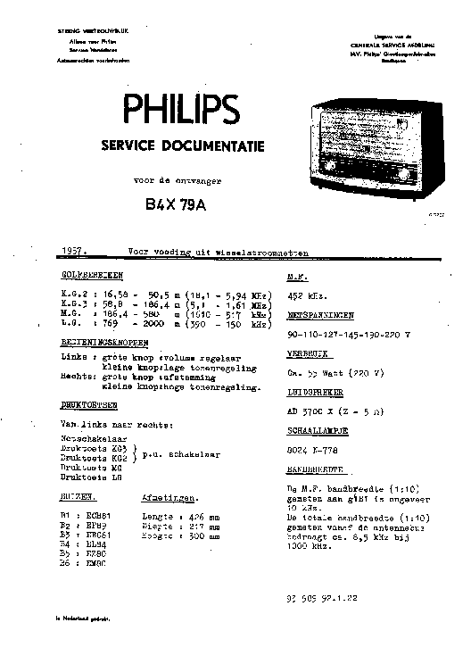 PHILIPS B4X79A service manual
