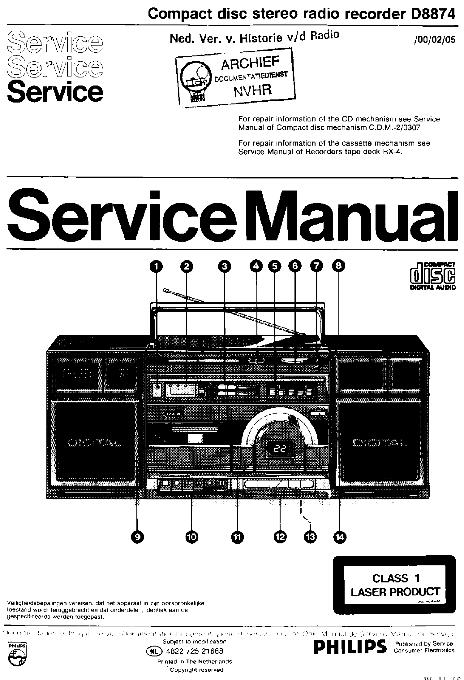 PHILIPS D8874-00-02-05 CD STEREO RADIO CASSETET RECORDER SM service manual