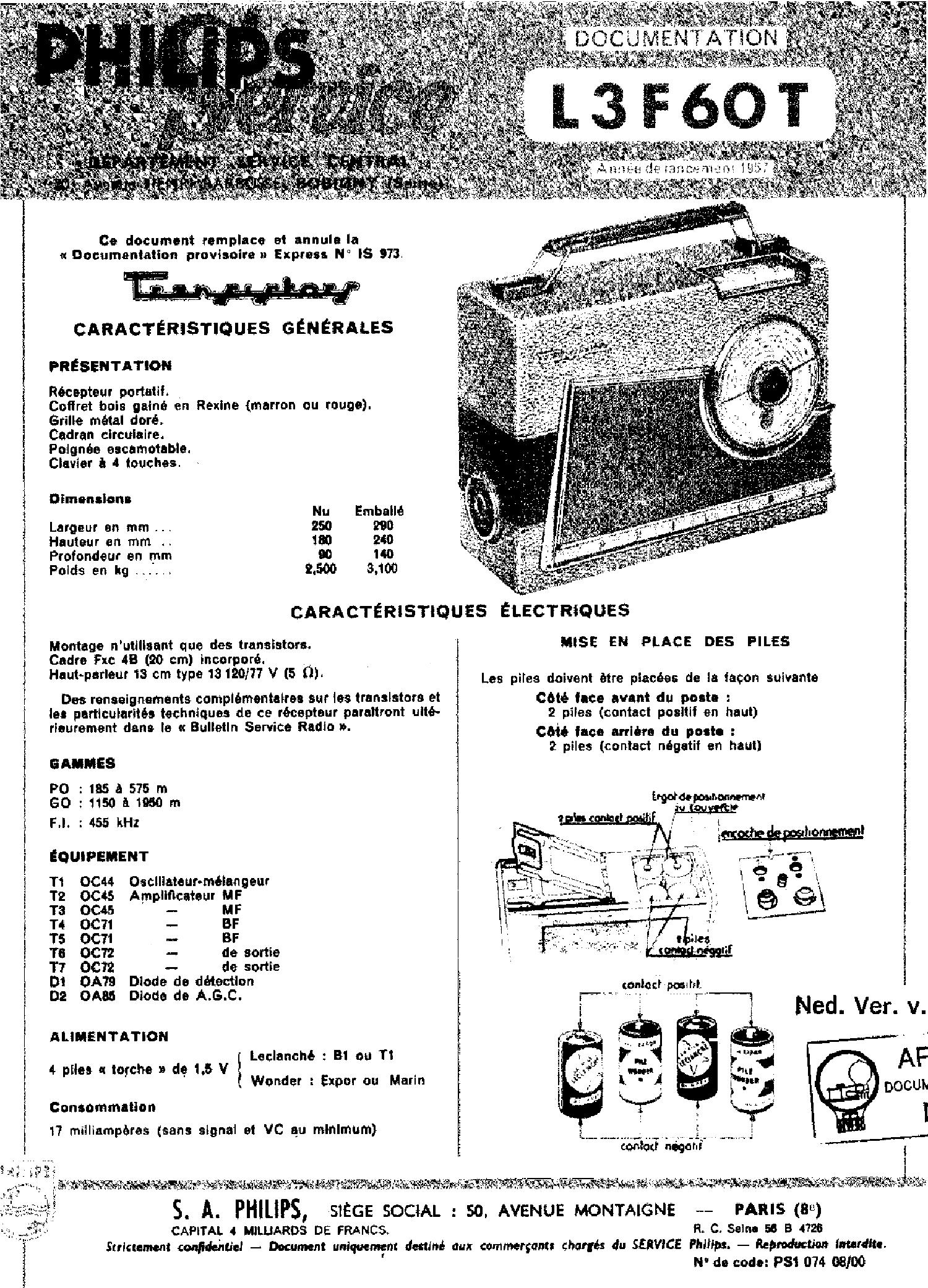 philips p3g90t car portable radio sm service manual