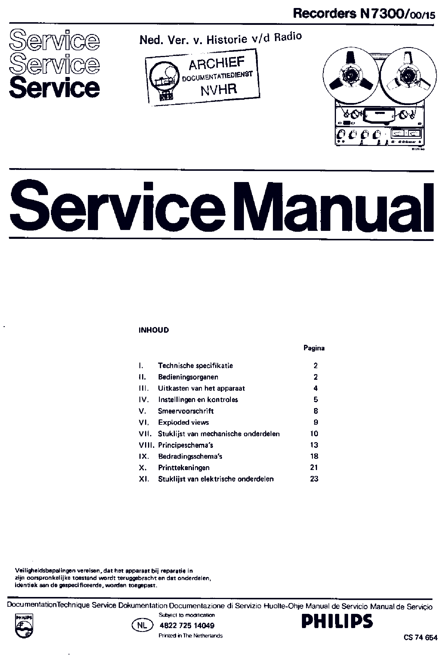 PHILIPS N7300-00-15 TOP TAPE RECORDER SM service manual (1st page)