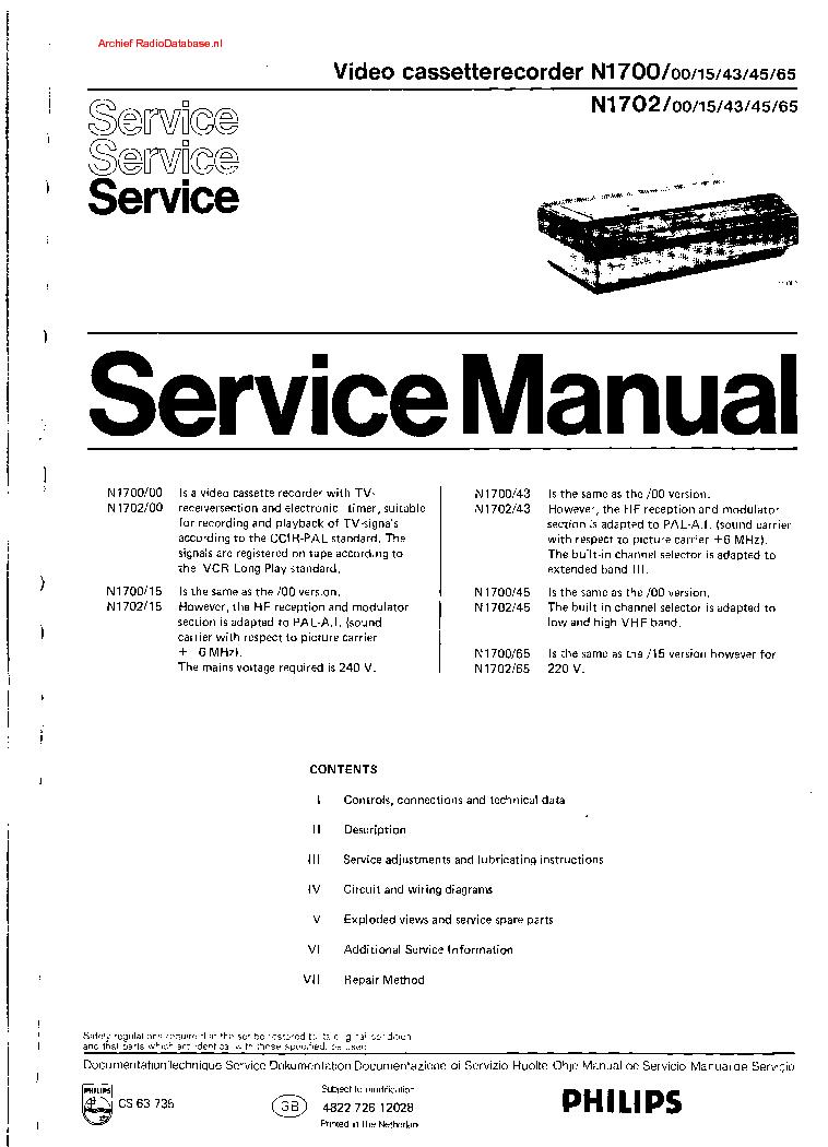 philips n 1700 1702 vcr sm service manual schematics philips n 1700 1702 vcr sm service manual 1st page