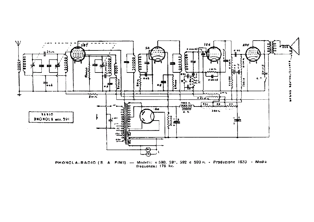 PHONOLA 590 AM RADIO RECEIVER SCH Service Manual 1st Page