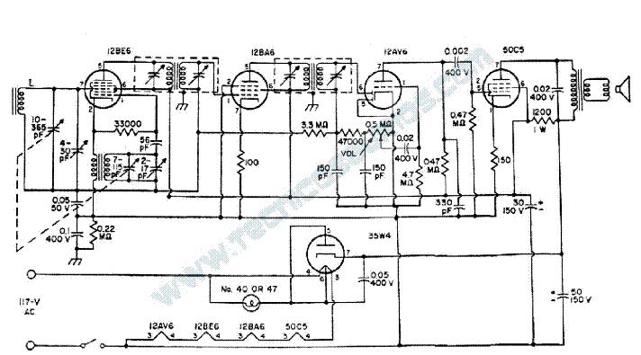 radio aa5 12be6 12ba6 12av6 50c5 35w4 sch service manual