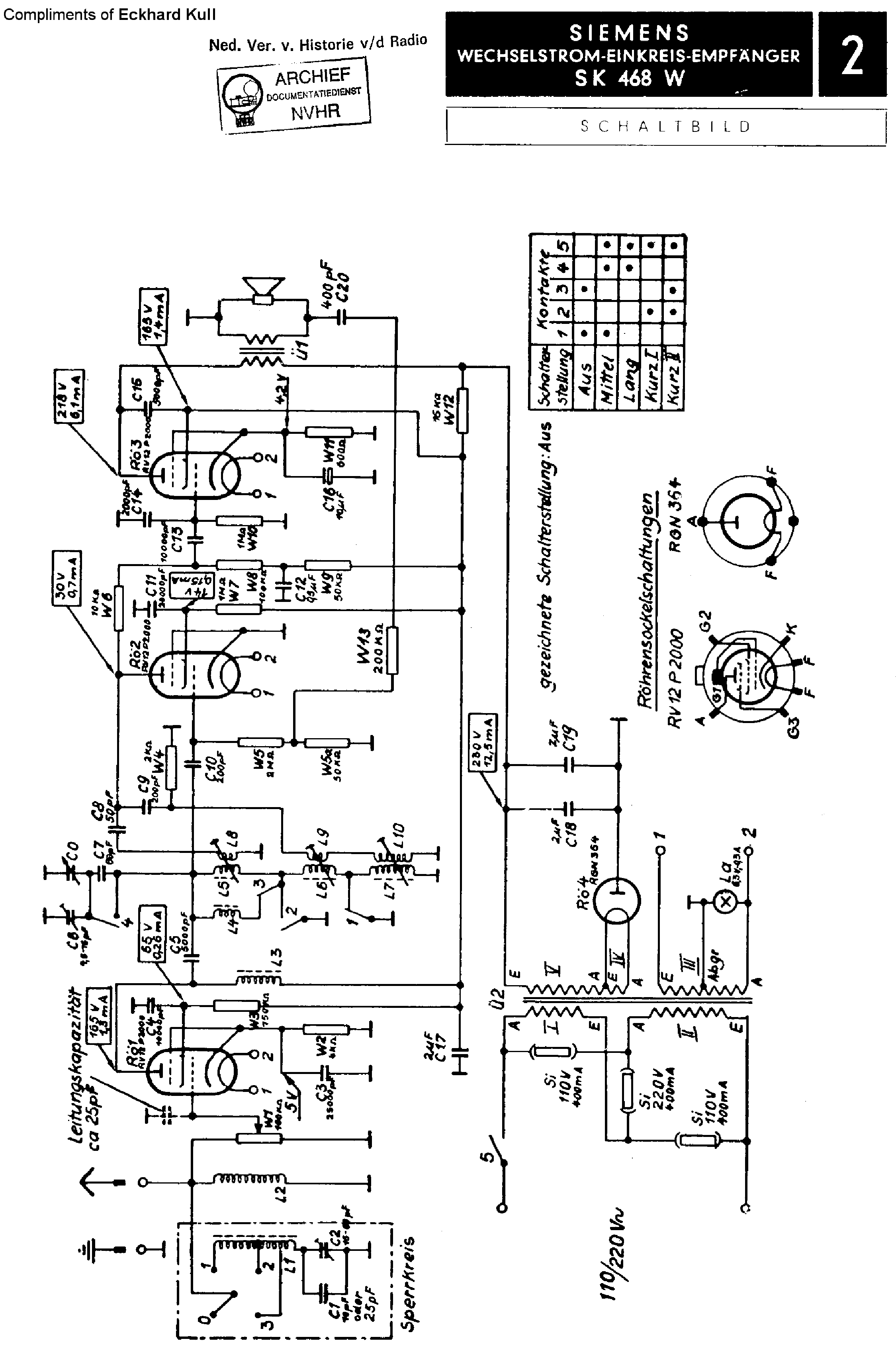 Siemens Sk468w Am Receiver Sch Service Manual Download Schematics 1st Page