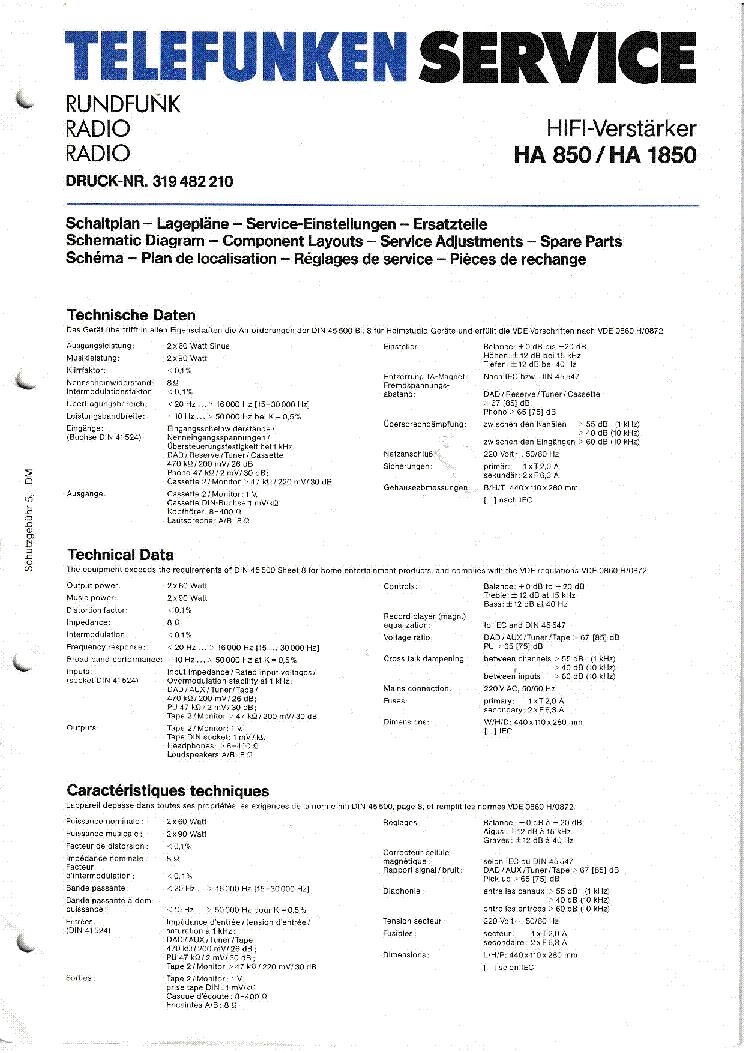 TELEFUNKEN HA850 Service Manual download, schematics, eeprom