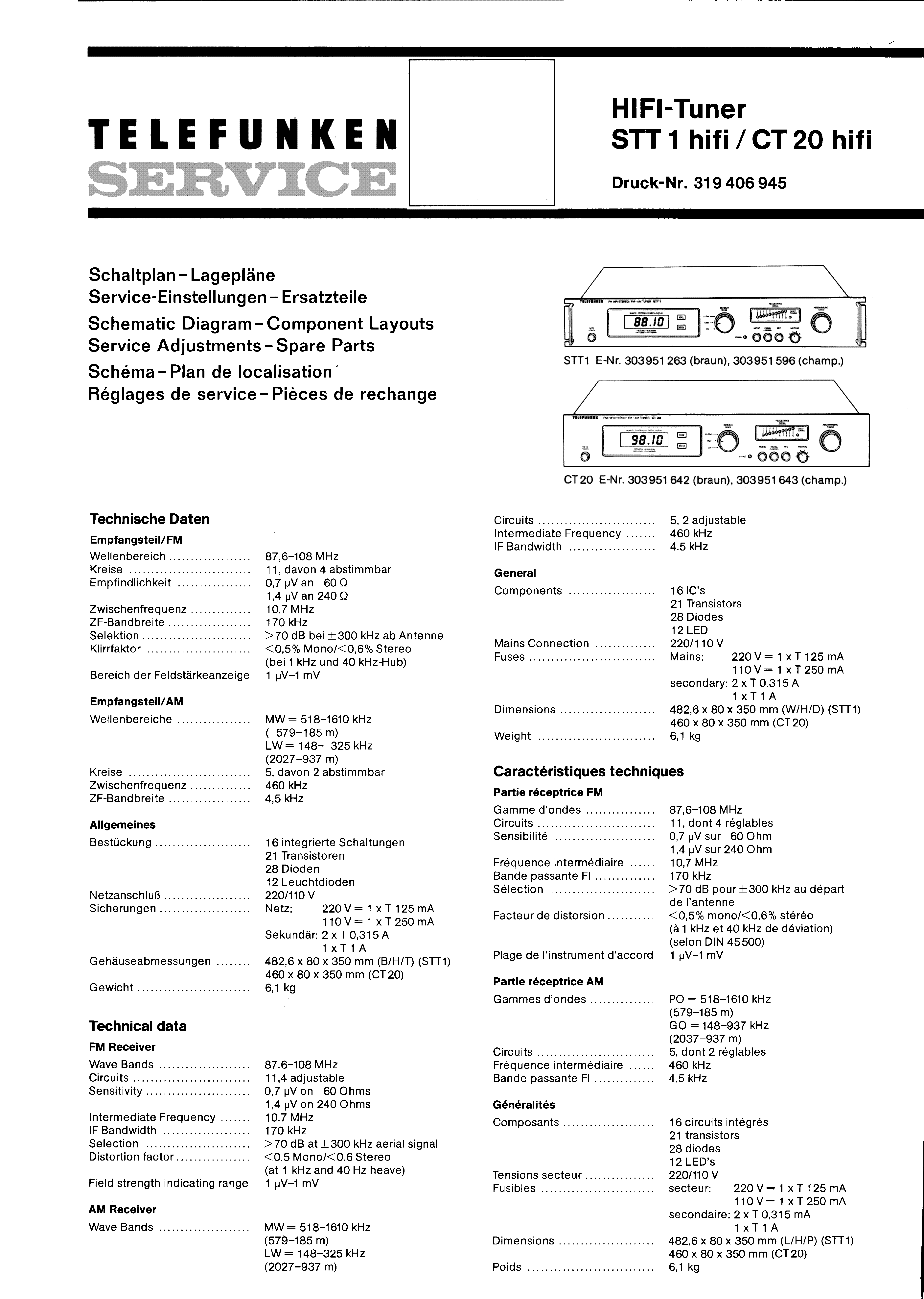 TELEFUNKEN HIFI-TUNER STT 1 HIFI CT 20 HIFI SM service manual (1st page