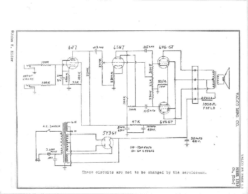VALCO NATIONAL 1212 CIRCA 1953 SCH Service Manual download ...