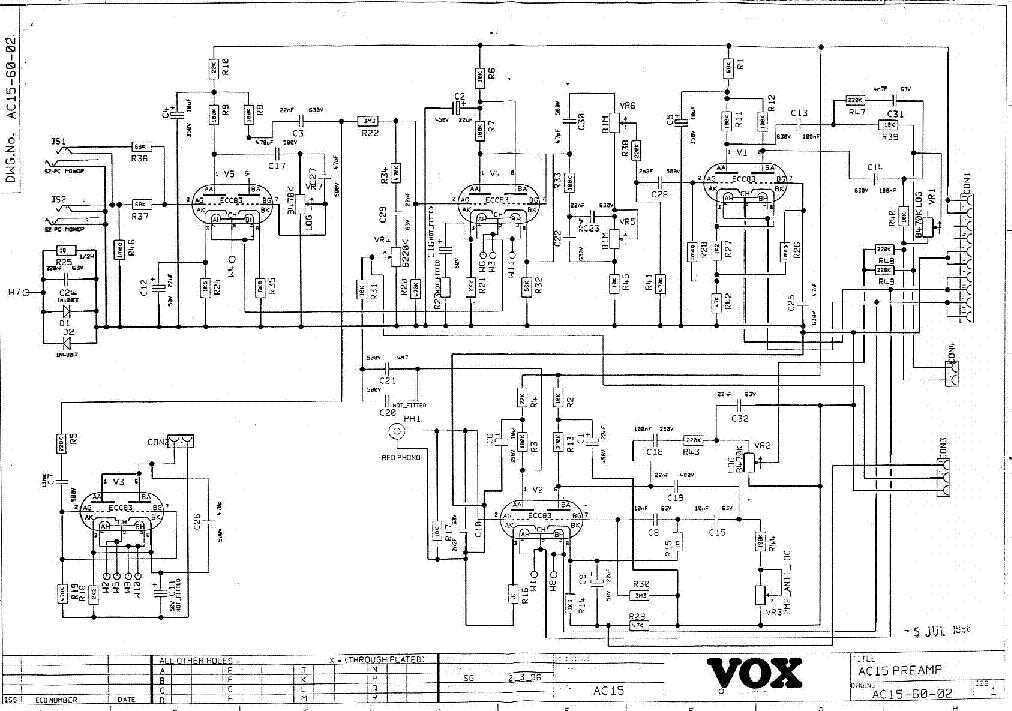 VOX AC15 96PRE SCH Service Manual download, schematics ... Ac Schematic on
