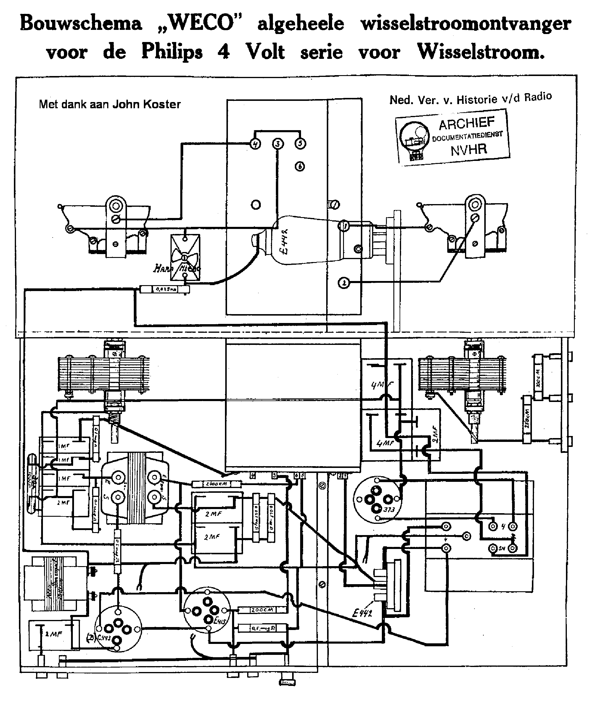 WECO ALGEHEEL-WISSELSTROOM EARLY AC RECEIVER SCH service manual (1st page)
