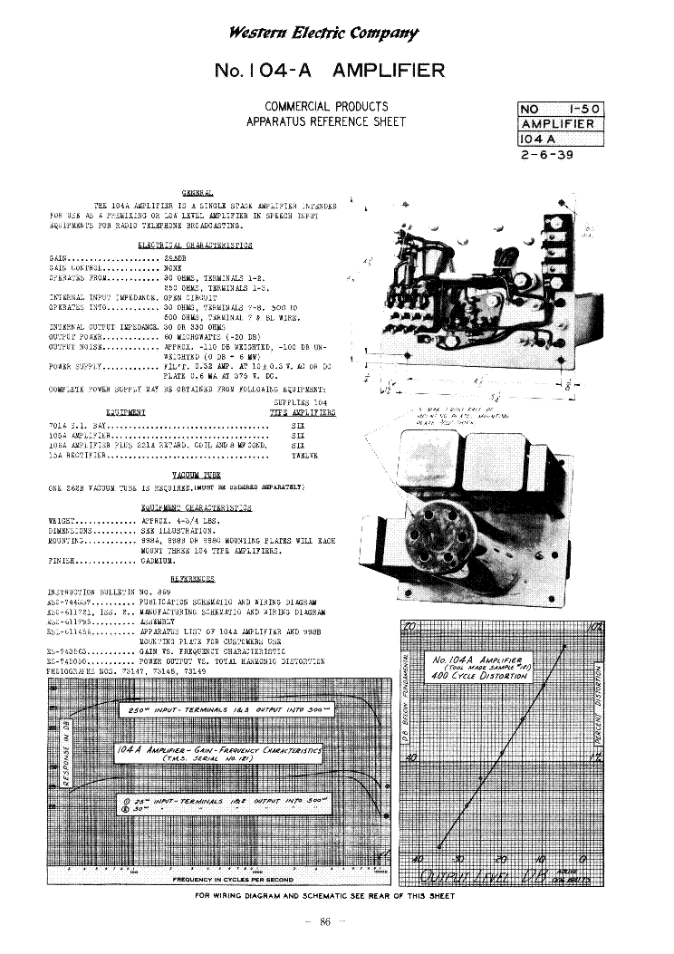 western electric a audio preamplifier sm service manual western electric 104 a audio preamplifier 1939 sm service manual 1st page