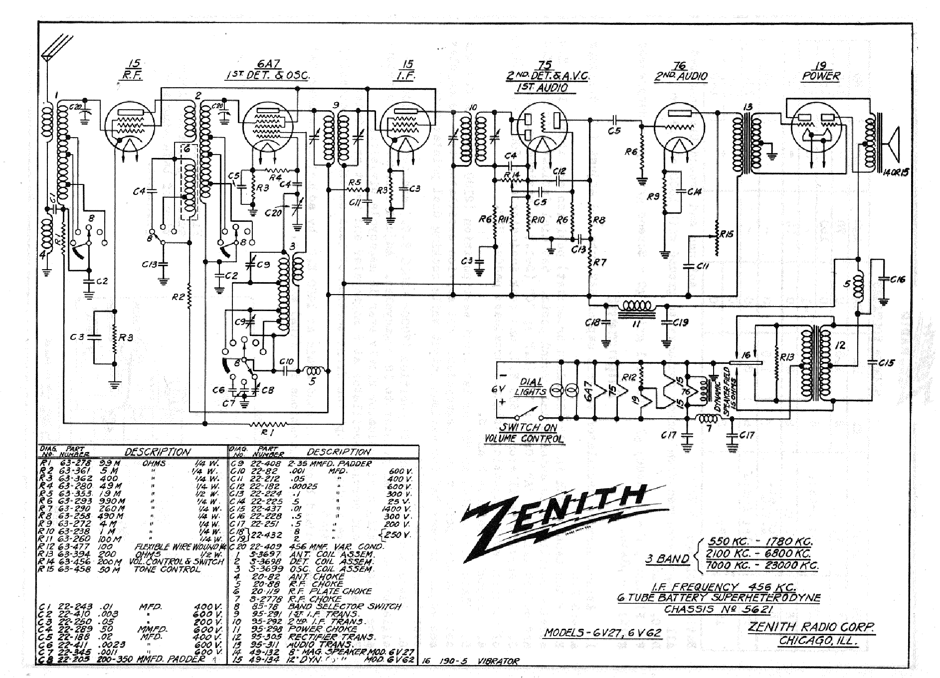 Zenith 6v27 6v62 Sch Service Manual Download Schematics