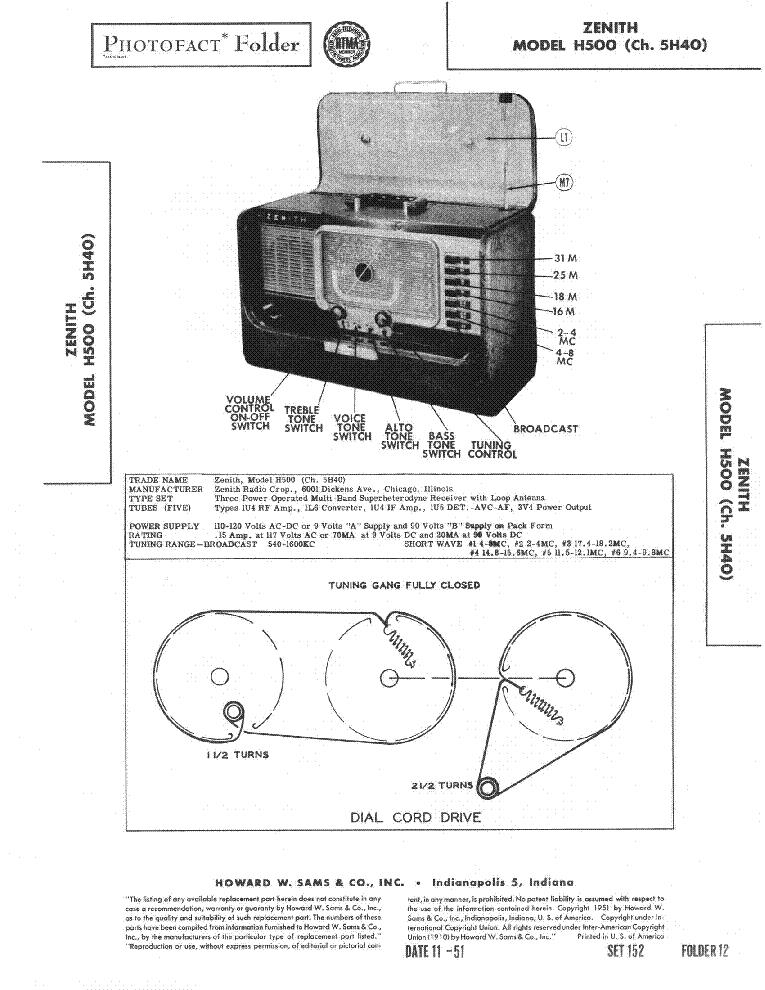 Zenith Model H500 Service Manual Download Schematics Eeprom. Zenith Model H500 Service Manual 1st Page. Wiring. Zenith Tube Radio Schematics H500 At Scoala.co